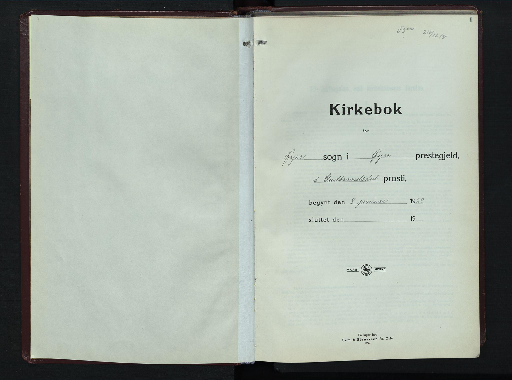 SAH, Øyer prestekontor, Klokkerbok nr. 8, 1929-1947, s. 1