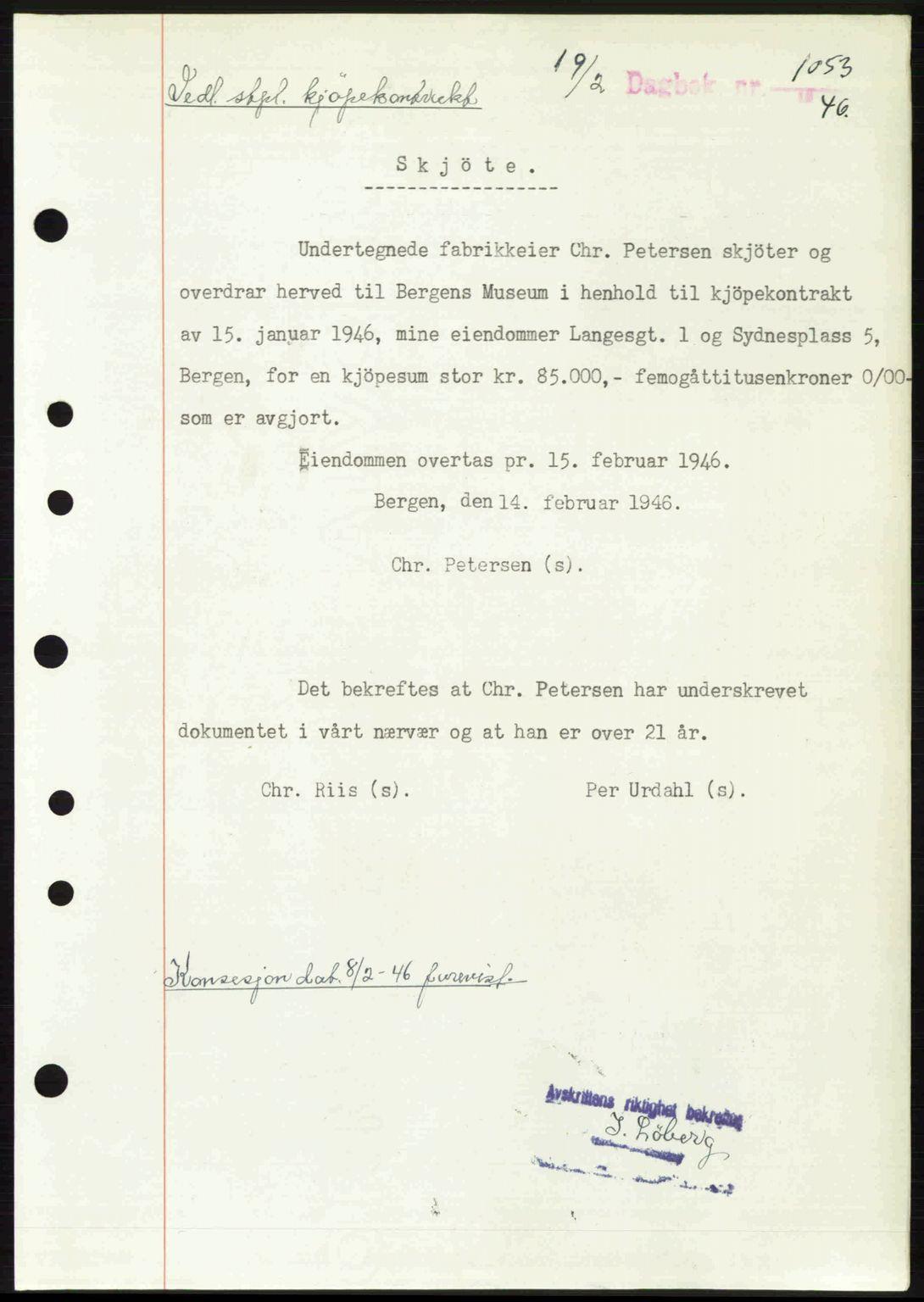 SAB, Byfogd og Byskriver i Bergen, 03/03Bc/L0022: Pantebok nr. A18, 1946-1946, Dagboknr: 1053/1946