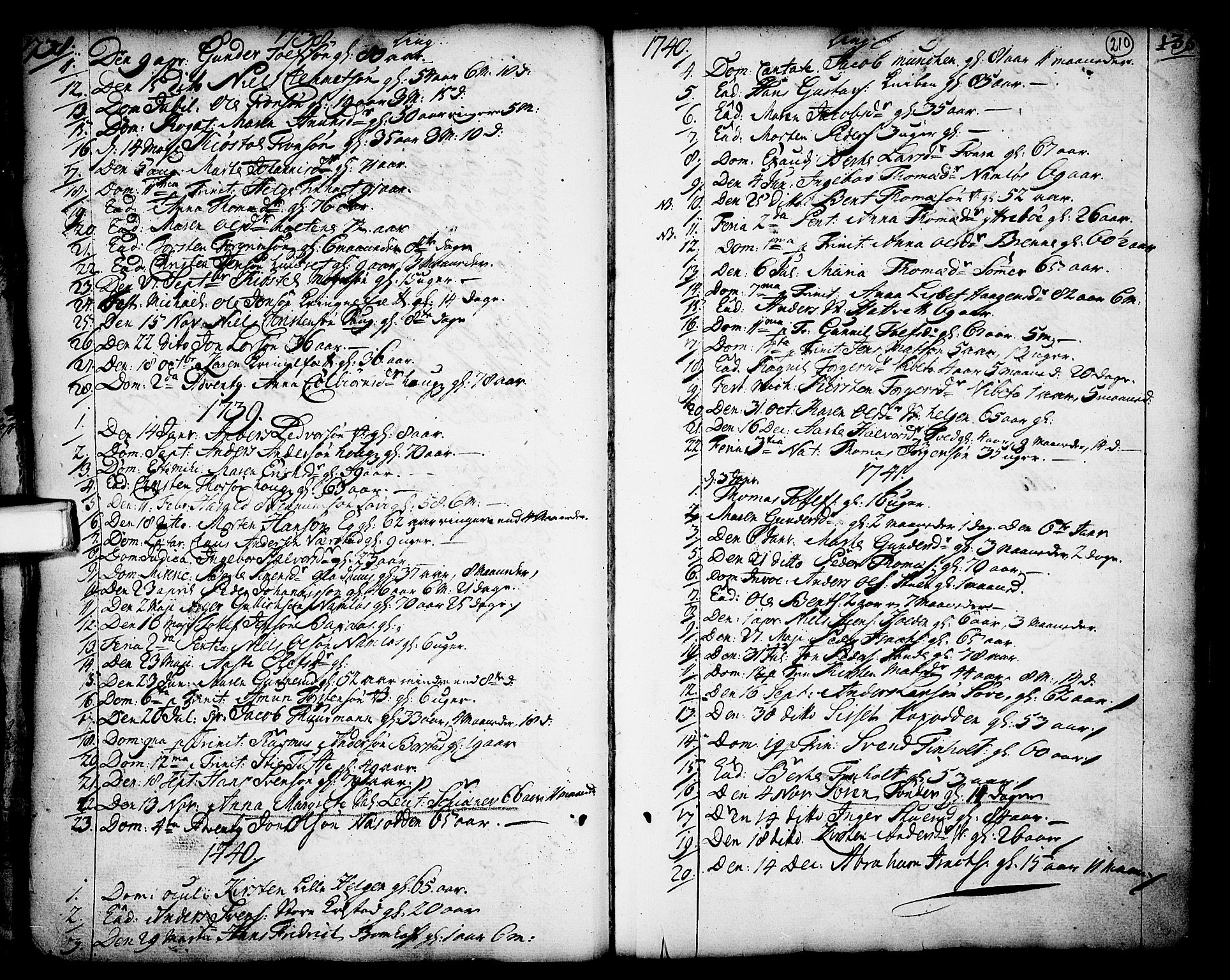 SAKO, Holla kirkebøker, F/Fa/L0001: Ministerialbok nr. 1, 1717-1779, s. 210