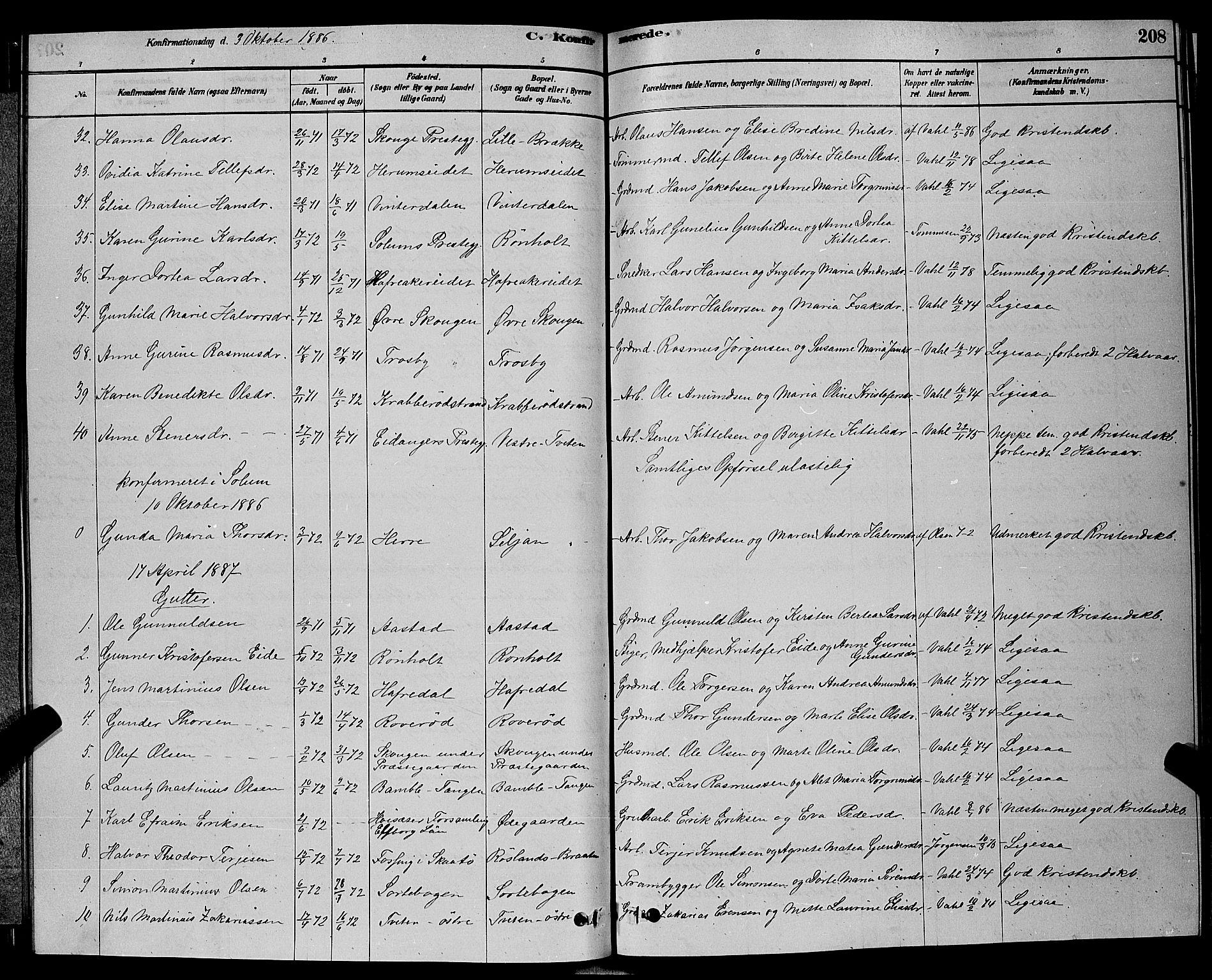 SAKO, Bamble kirkebøker, G/Ga/L0008: Klokkerbok nr. I 8, 1878-1888, s. 208
