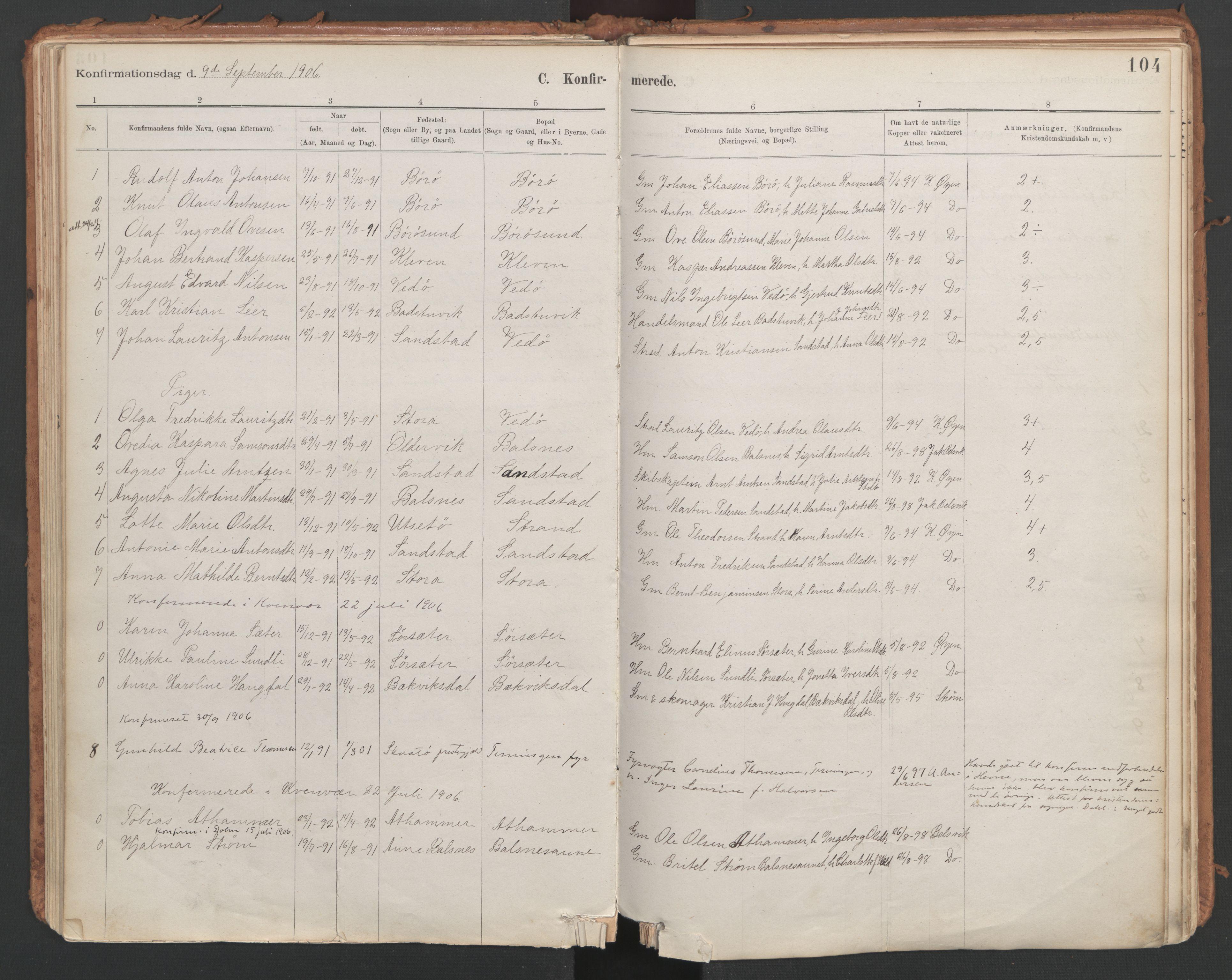 SAT, Ministerialprotokoller, klokkerbøker og fødselsregistre - Sør-Trøndelag, 639/L0572: Ministerialbok nr. 639A01, 1890-1920, s. 104