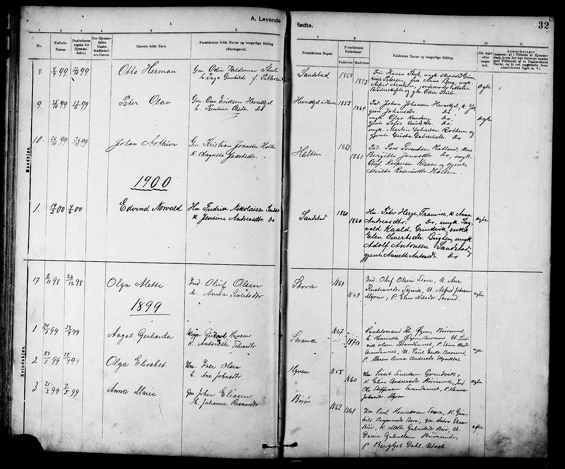 SAT, Ministerialprotokoller, klokkerbøker og fødselsregistre - Sør-Trøndelag, 639/L0573: Klokkerbok nr. 639C01, 1890-1905, s. 32