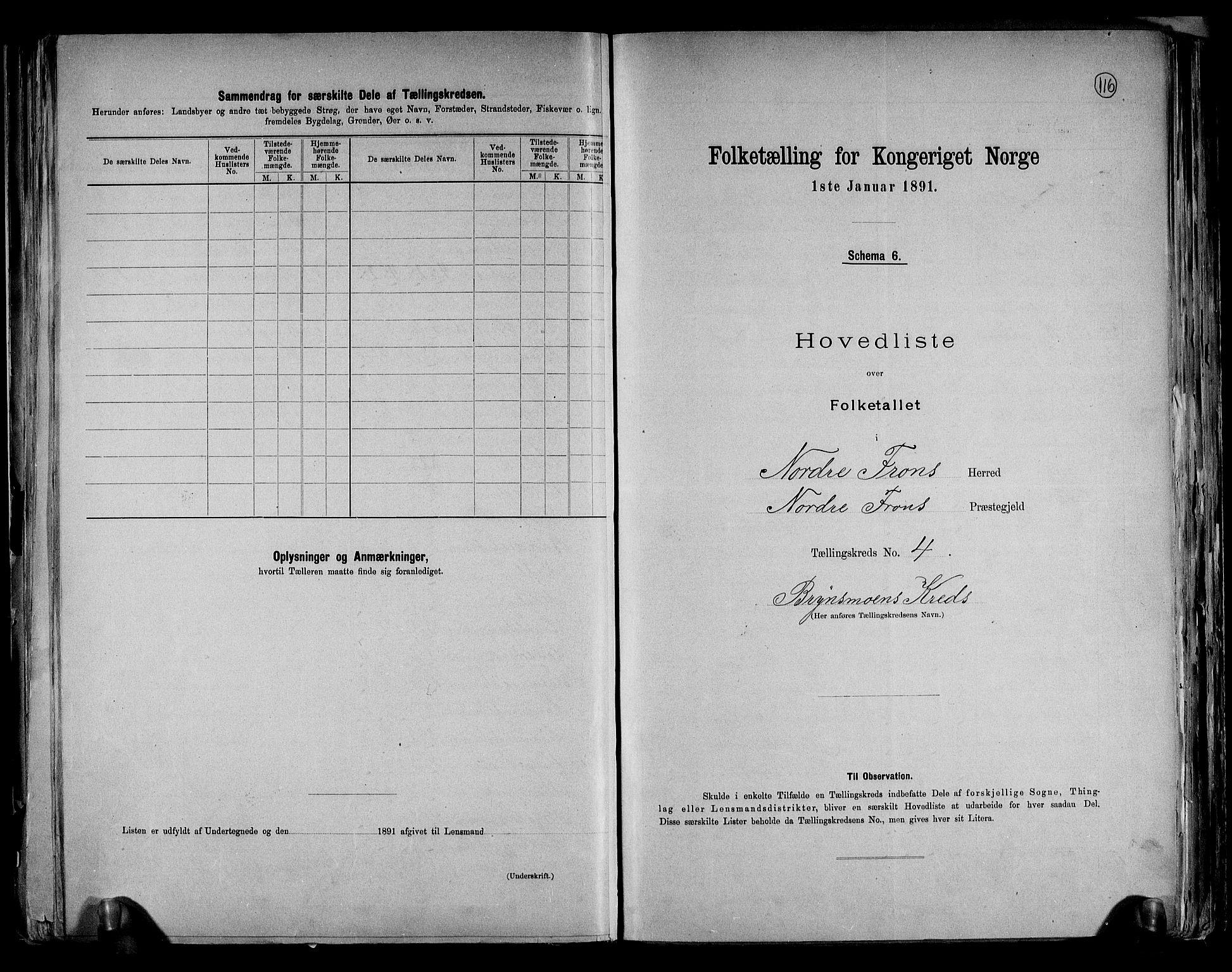 RA, Folketelling 1891 for 0518 Nord-Fron herred, 1891, s. 11