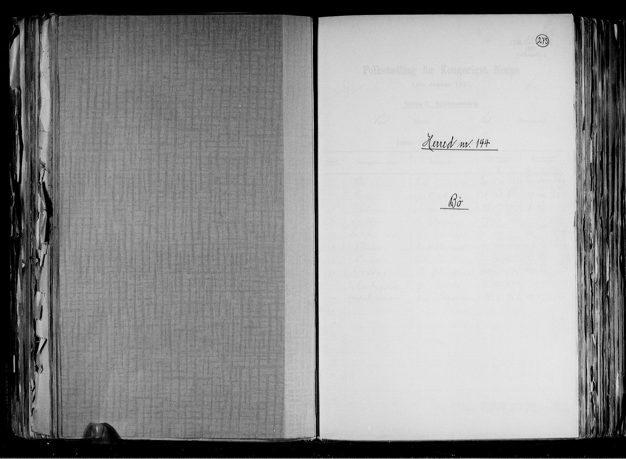 RA, Folketelling 1891 for 0821 Bø herred, 1891, s. 1