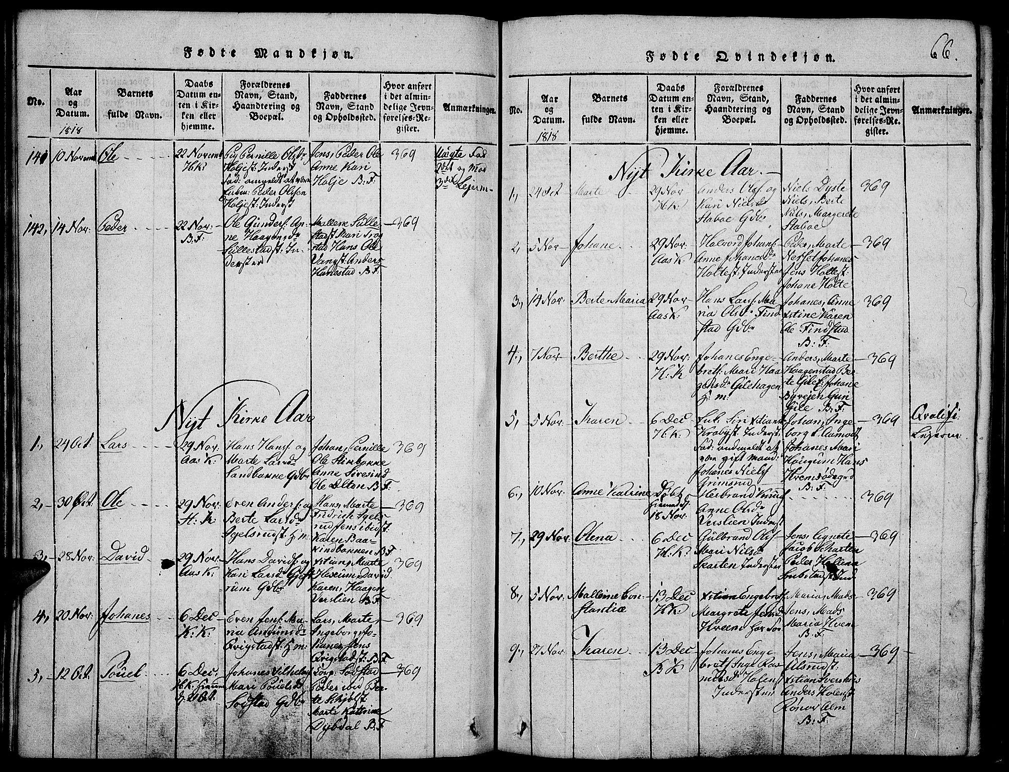 SAH, Toten prestekontor, Ministerialbok nr. 9, 1814-1820, s. 66