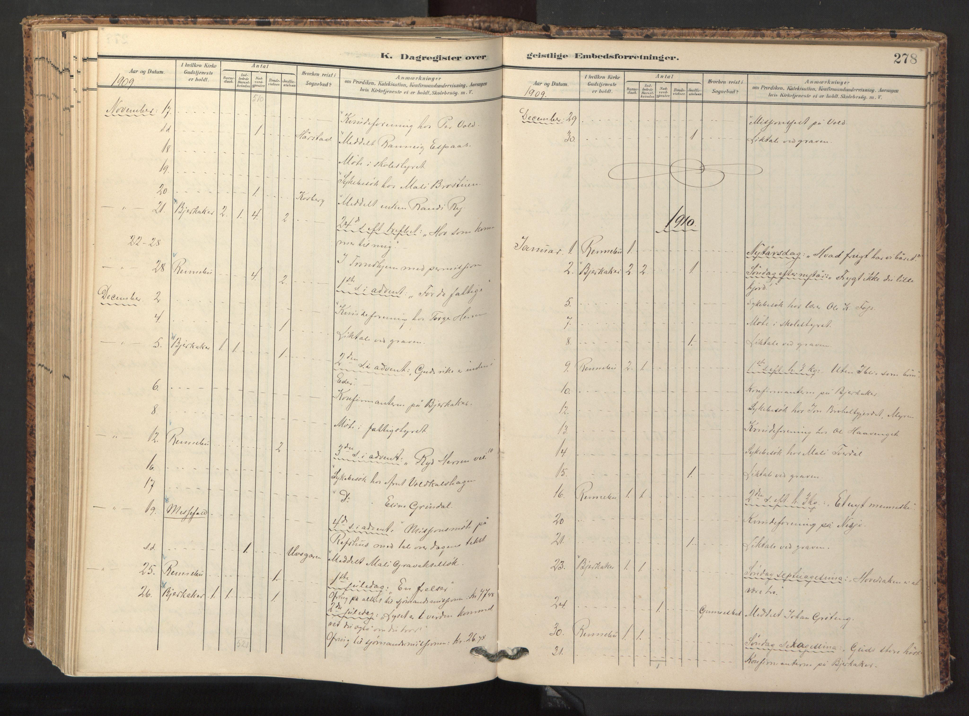 SAT, Ministerialprotokoller, klokkerbøker og fødselsregistre - Sør-Trøndelag, 674/L0873: Ministerialbok nr. 674A05, 1908-1923, s. 278