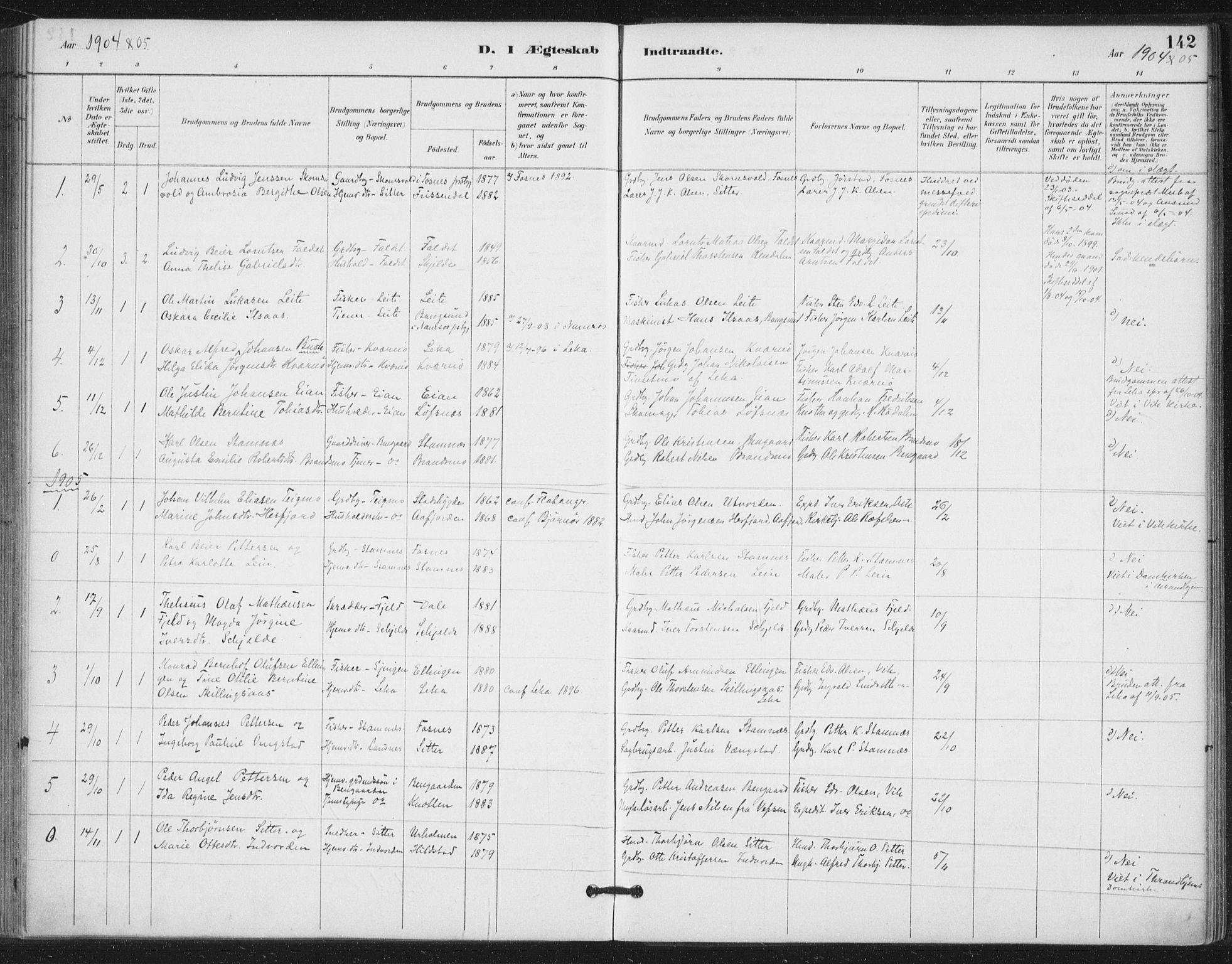 SAT, Ministerialprotokoller, klokkerbøker og fødselsregistre - Nord-Trøndelag, 772/L0603: Ministerialbok nr. 772A01, 1885-1912, s. 142