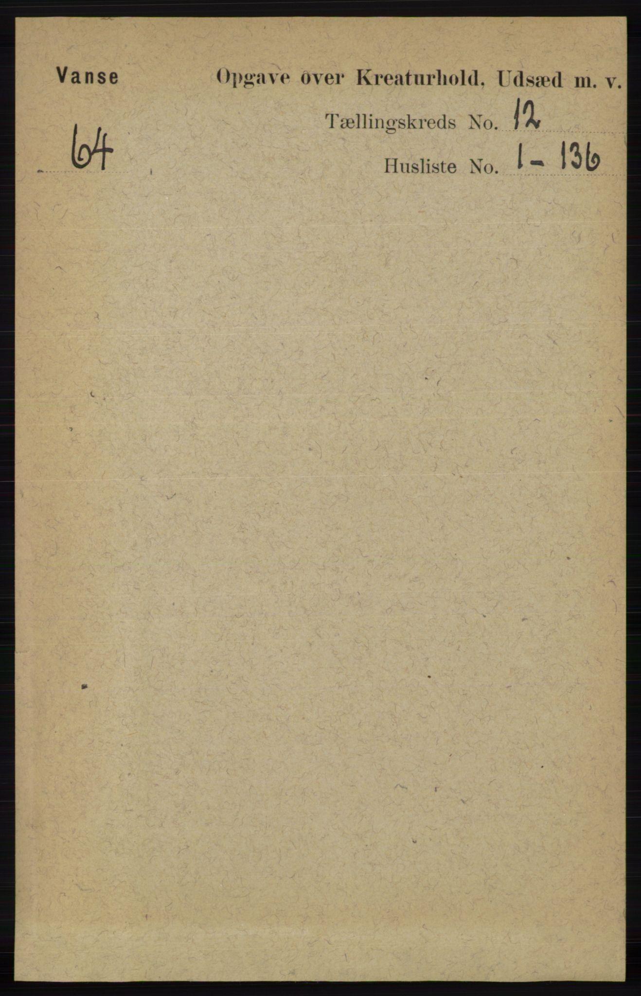 RA, Folketelling 1891 for 1041 Vanse herred, 1891, s. 10093