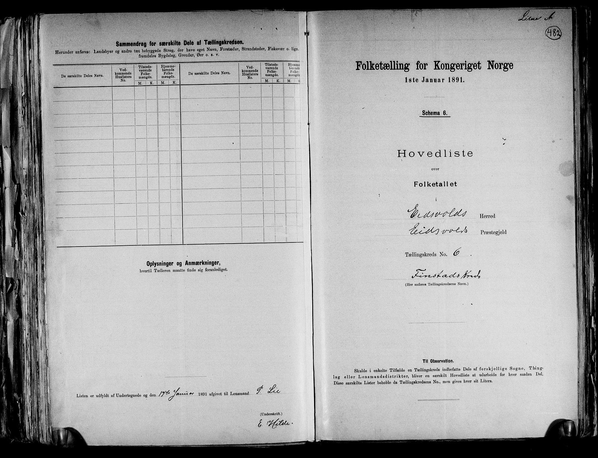 RA, Folketelling 1891 for 0237 Eidsvoll herred, 1891, s. 19