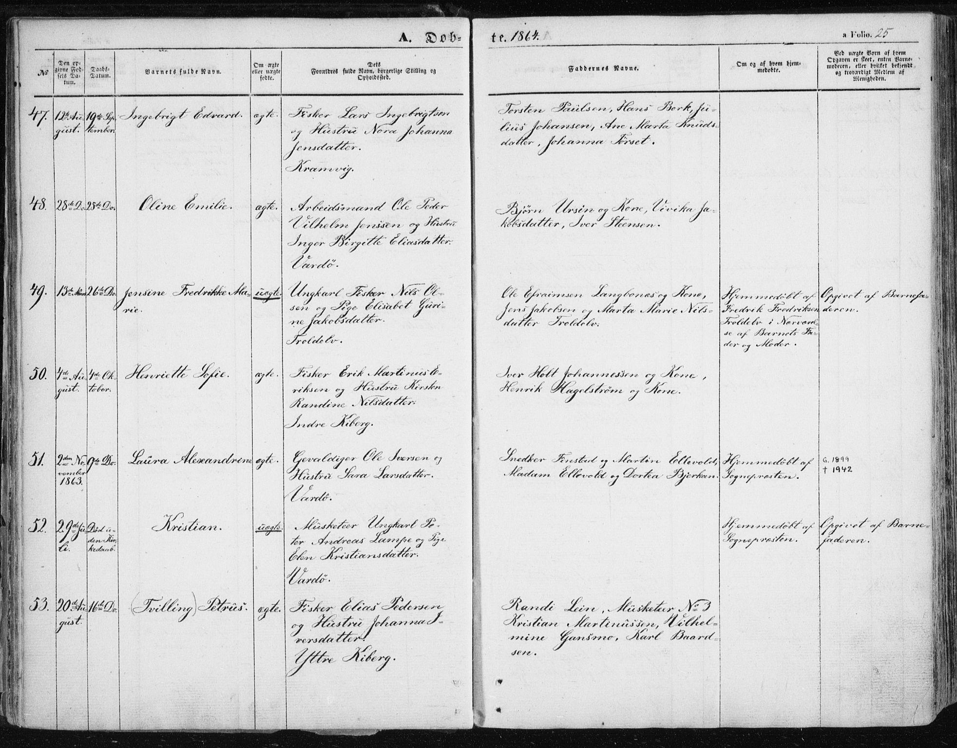 SATØ, Vardø sokneprestkontor, H/Ha/L0004kirke: Ministerialbok nr. 4, 1862-1871, s. 25