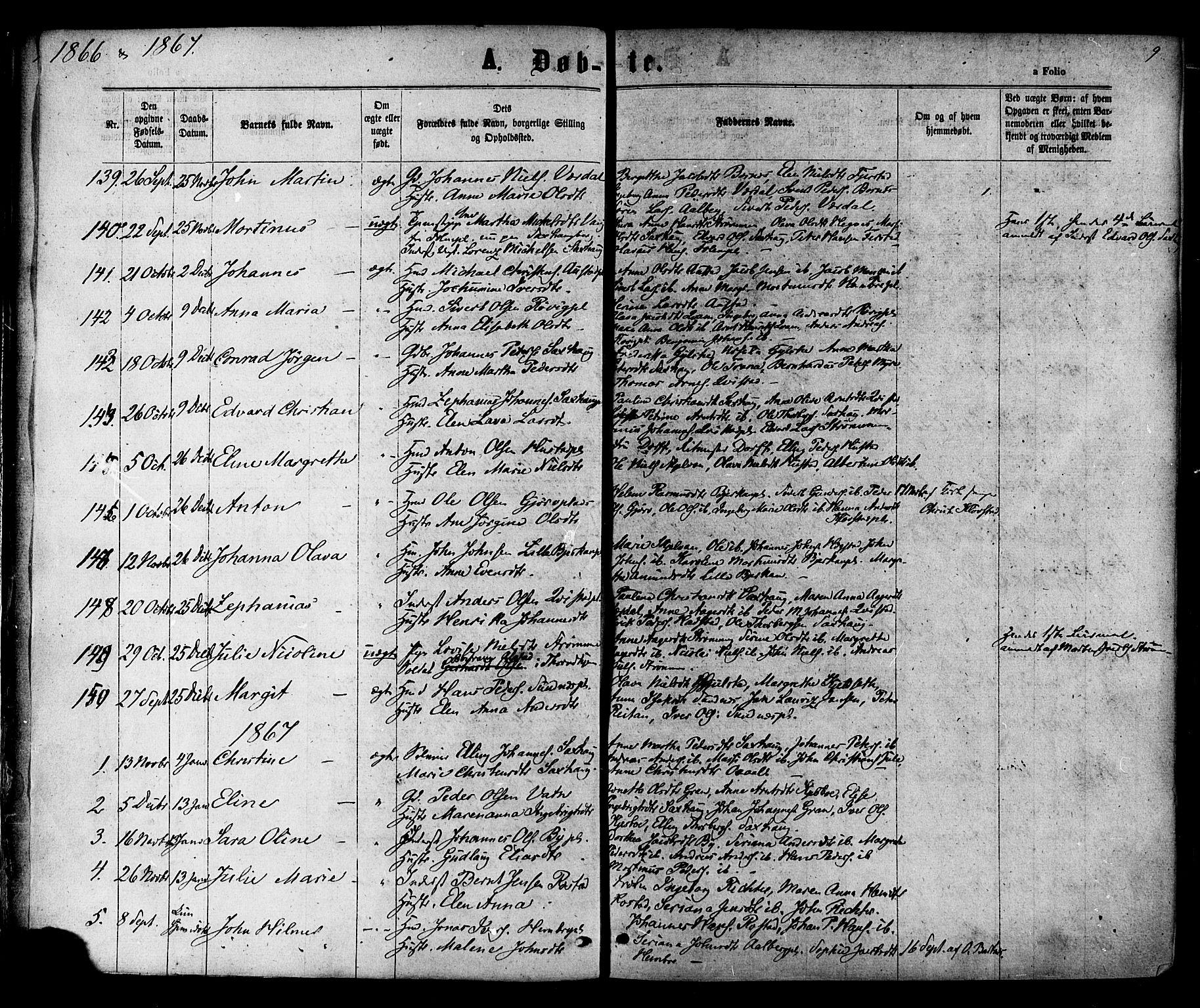 SAT, Ministerialprotokoller, klokkerbøker og fødselsregistre - Nord-Trøndelag, 730/L0284: Ministerialbok nr. 730A09, 1866-1878, s. 9