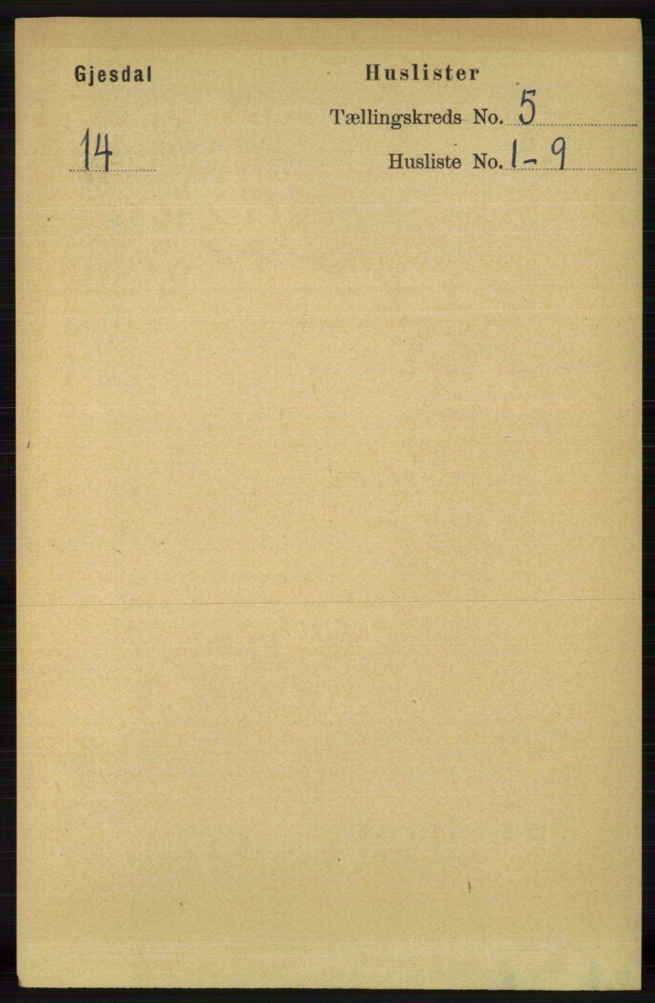 RA, Folketelling 1891 for 1122 Gjesdal herred, 1891, s. 1478