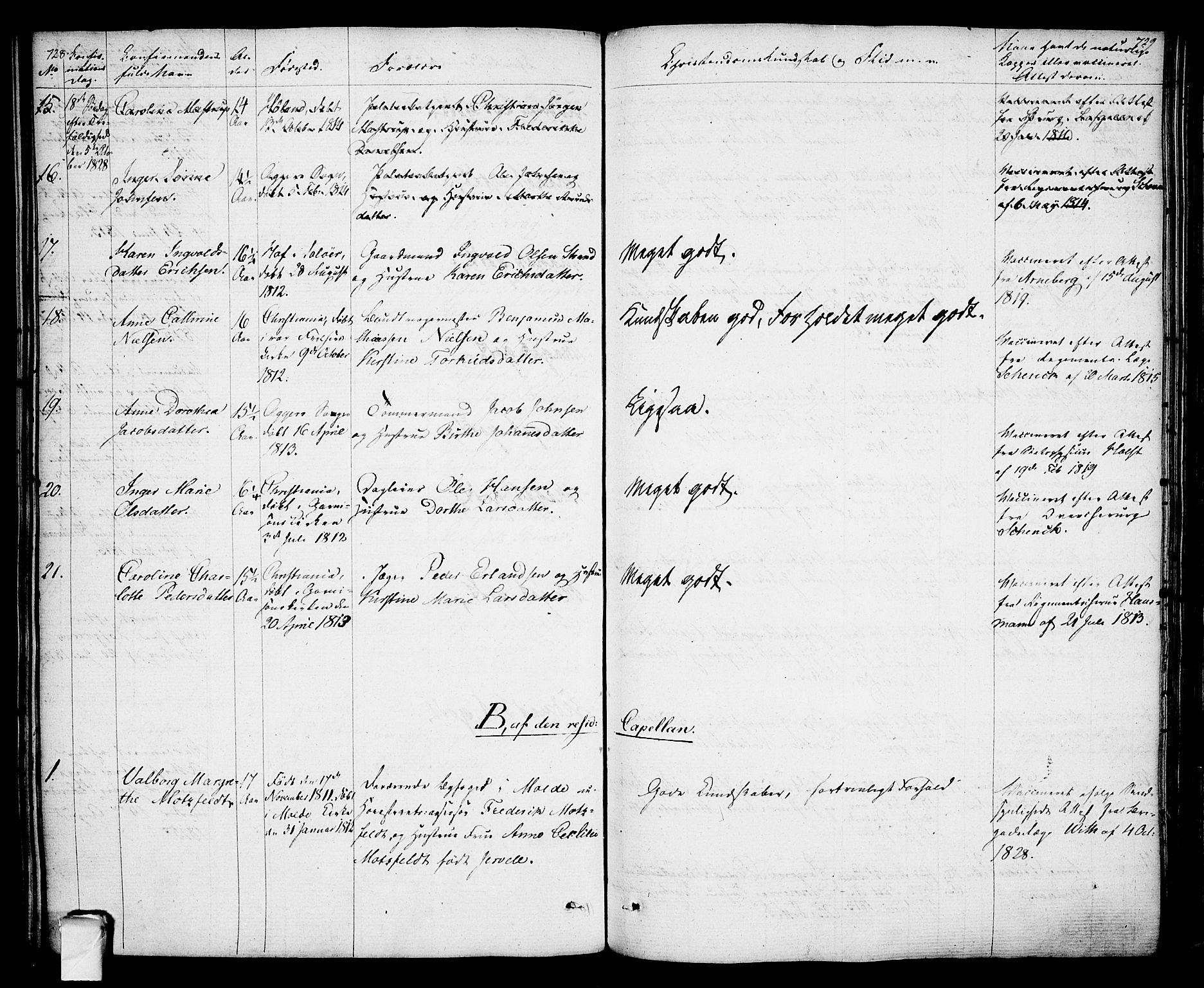 SAO, Oslo domkirke Kirkebøker, F/Fa/L0010: Ministerialbok nr. 10, 1824-1830, s. 728-729