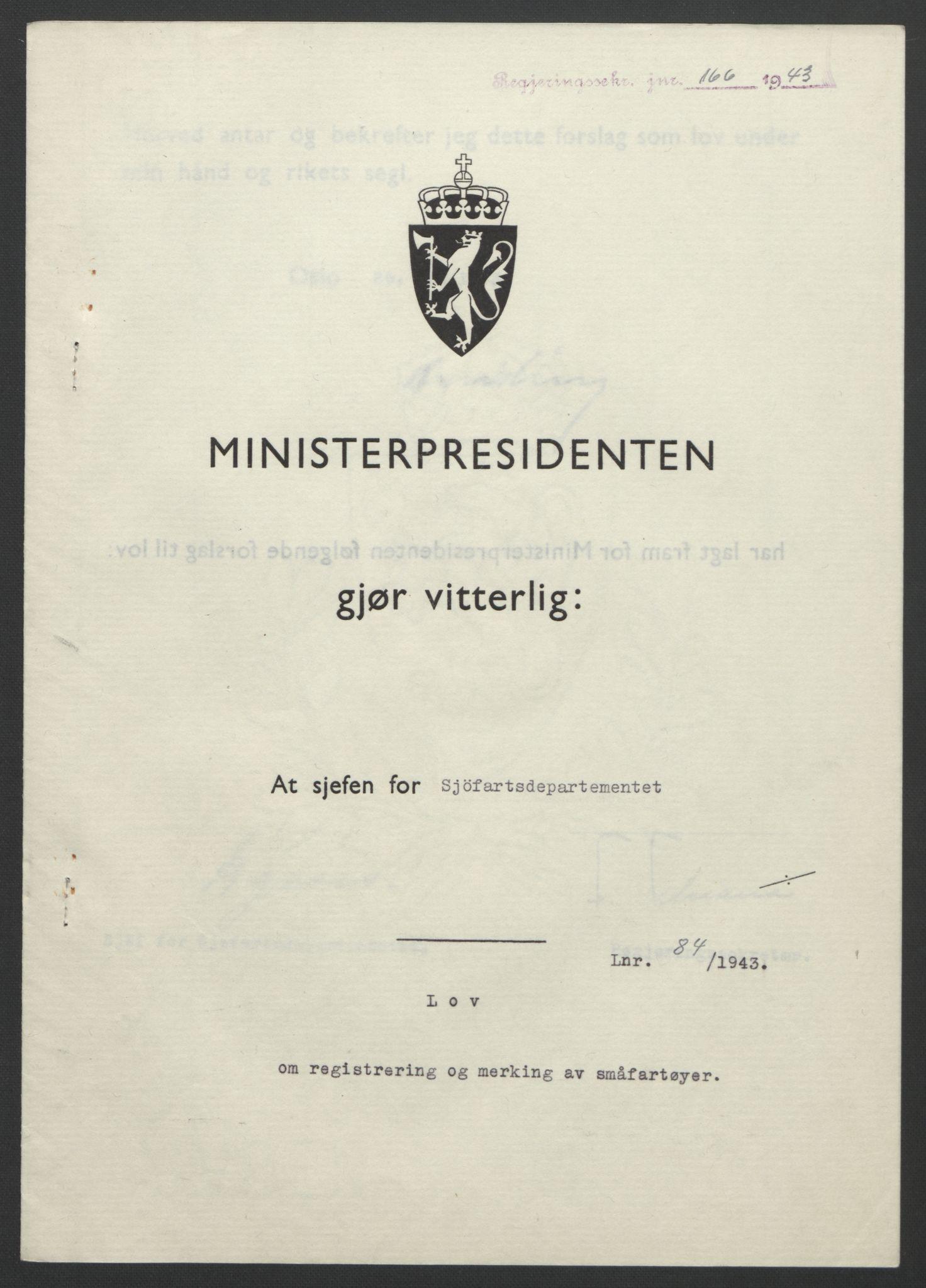 RA, NS-administrasjonen 1940-1945 (Statsrådsekretariatet, de kommisariske statsråder mm), D/Db/L0099: Lover, 1943, s. 383