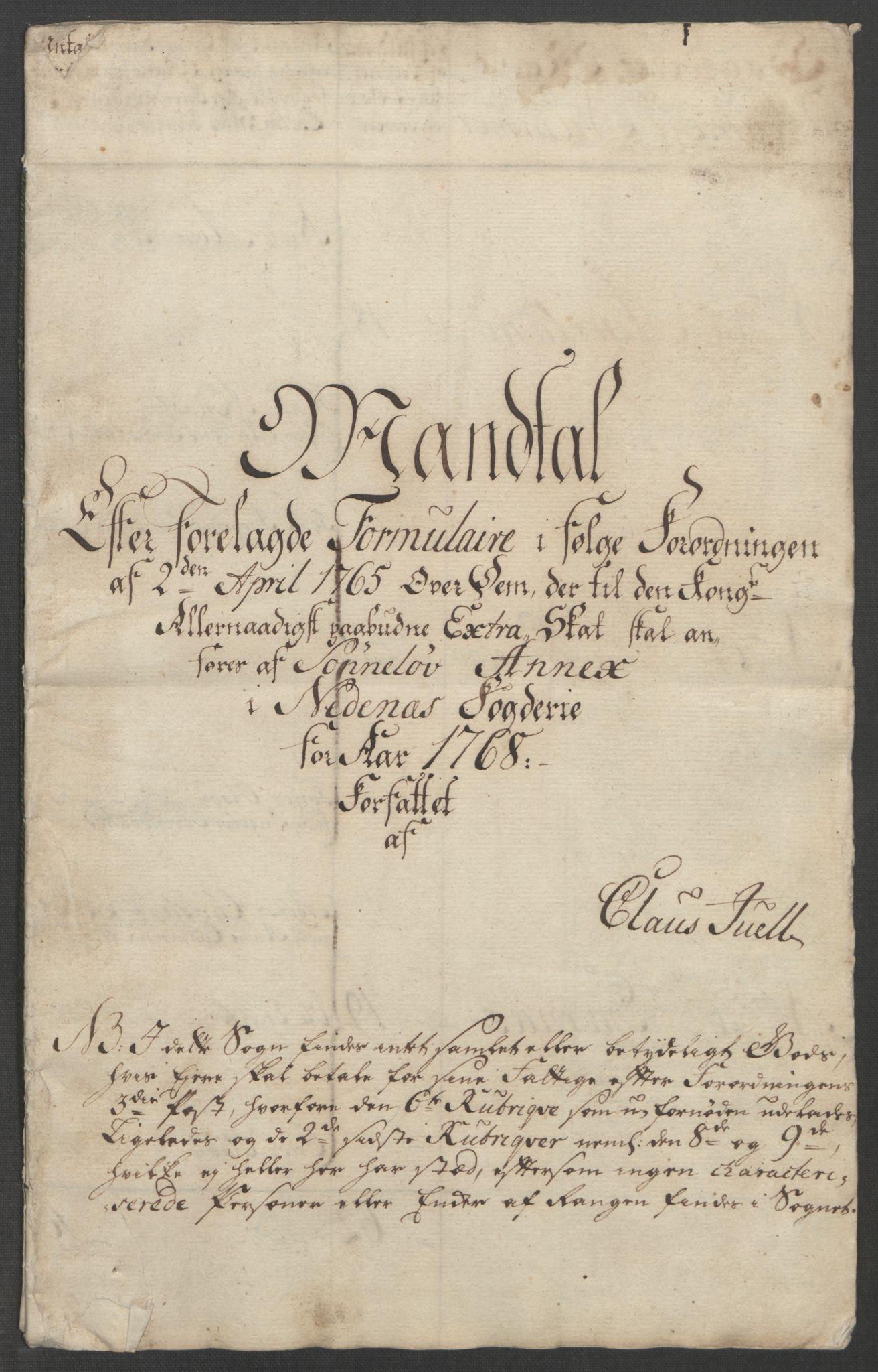 RA, Rentekammeret inntil 1814, Reviderte regnskaper, Fogderegnskap, R39/L2424: Ekstraskatten Nedenes, 1762-1767, s. 491