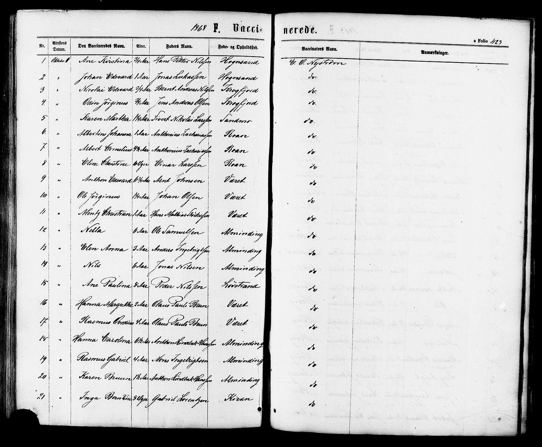 SAT, Ministerialprotokoller, klokkerbøker og fødselsregistre - Sør-Trøndelag, 657/L0706: Ministerialbok nr. 657A07, 1867-1878, s. 423