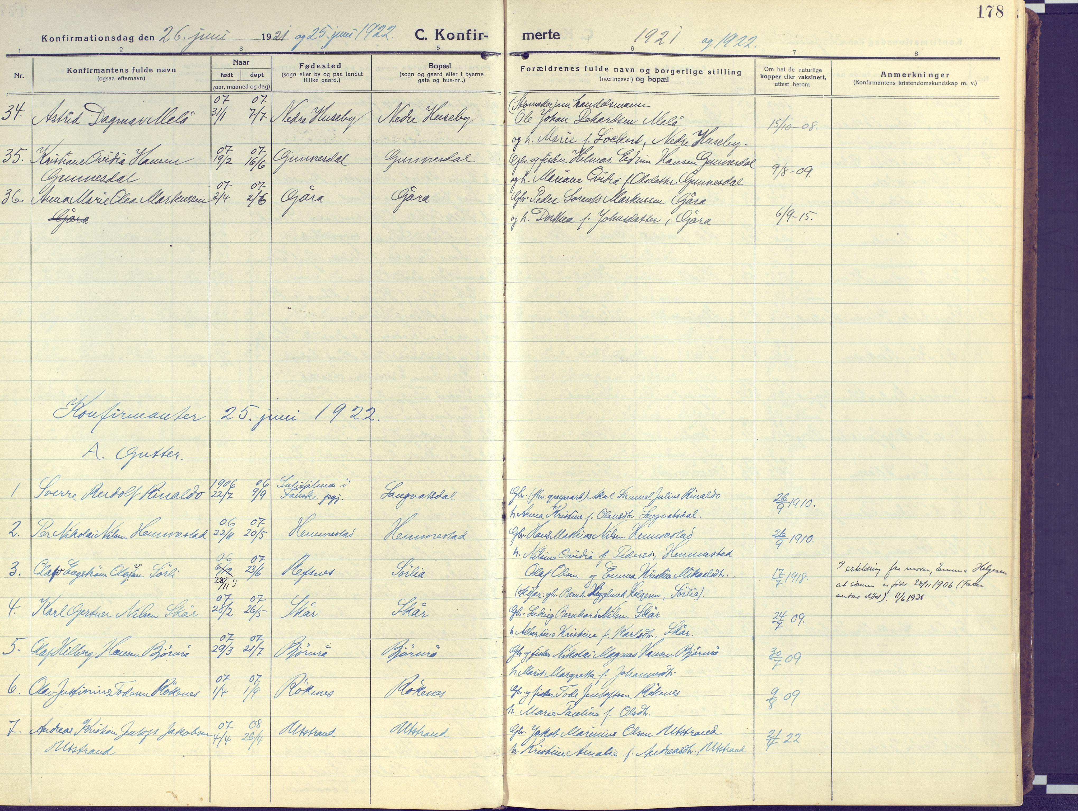 SATØ, Kvæfjord sokneprestkontor, G/Ga/Gaa/L0007kirke: Ministerialbok nr. 7, 1915-1931, s. 178