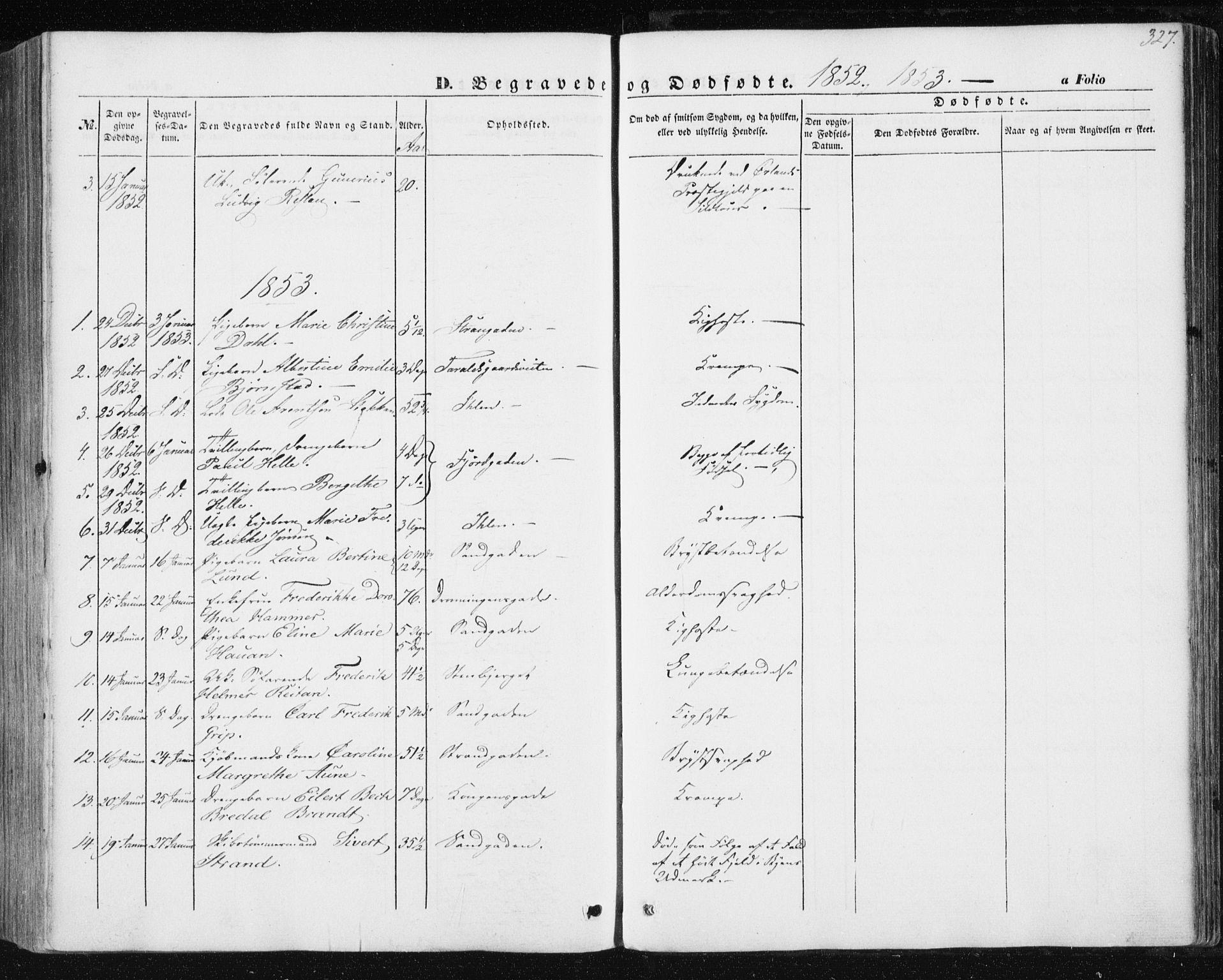 SAT, Ministerialprotokoller, klokkerbøker og fødselsregistre - Sør-Trøndelag, 602/L0112: Ministerialbok nr. 602A10, 1848-1859, s. 327