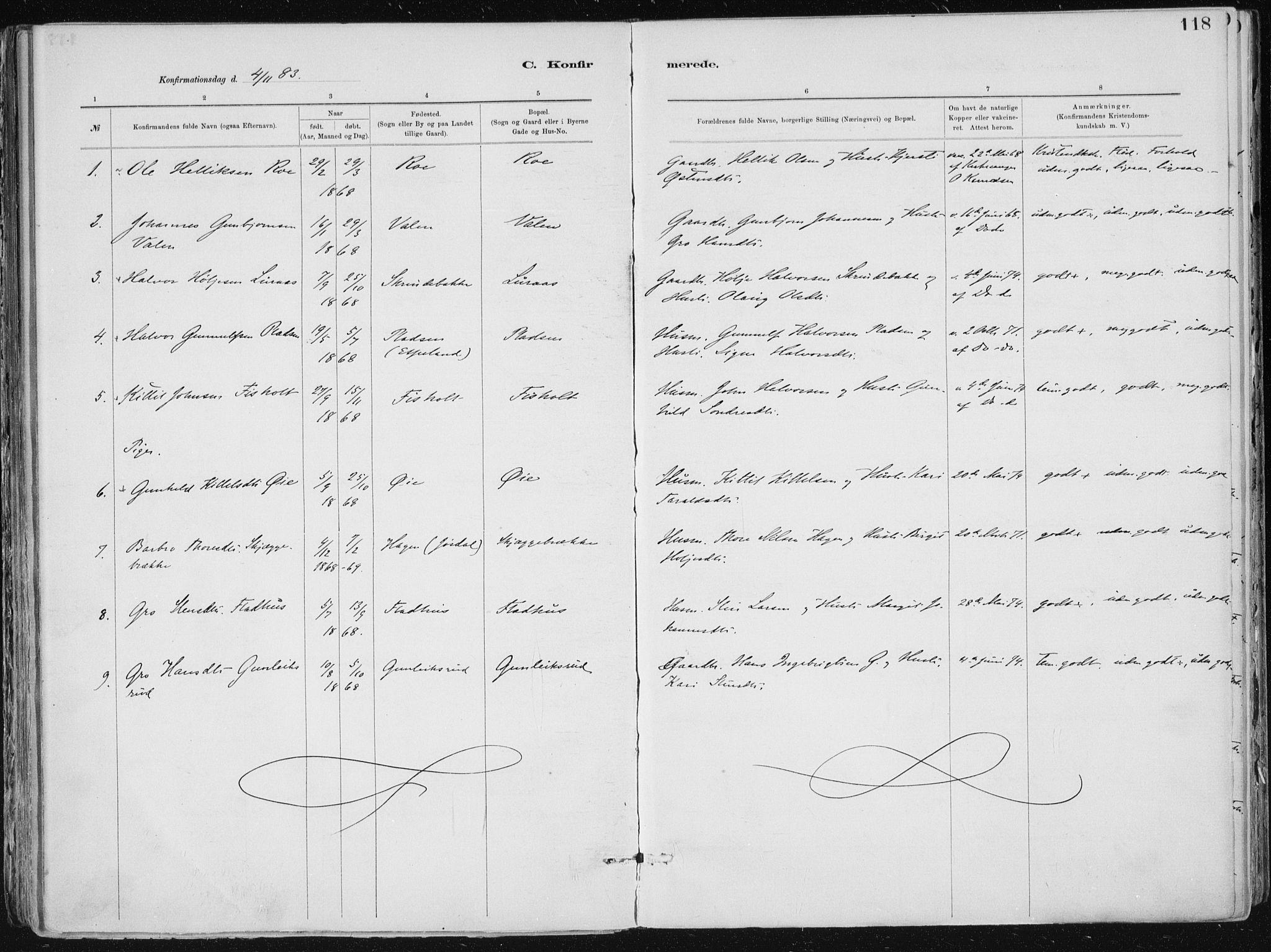SAKO, Tinn kirkebøker, F/Fa/L0007: Ministerialbok nr. I 7, 1878-1922, s. 118