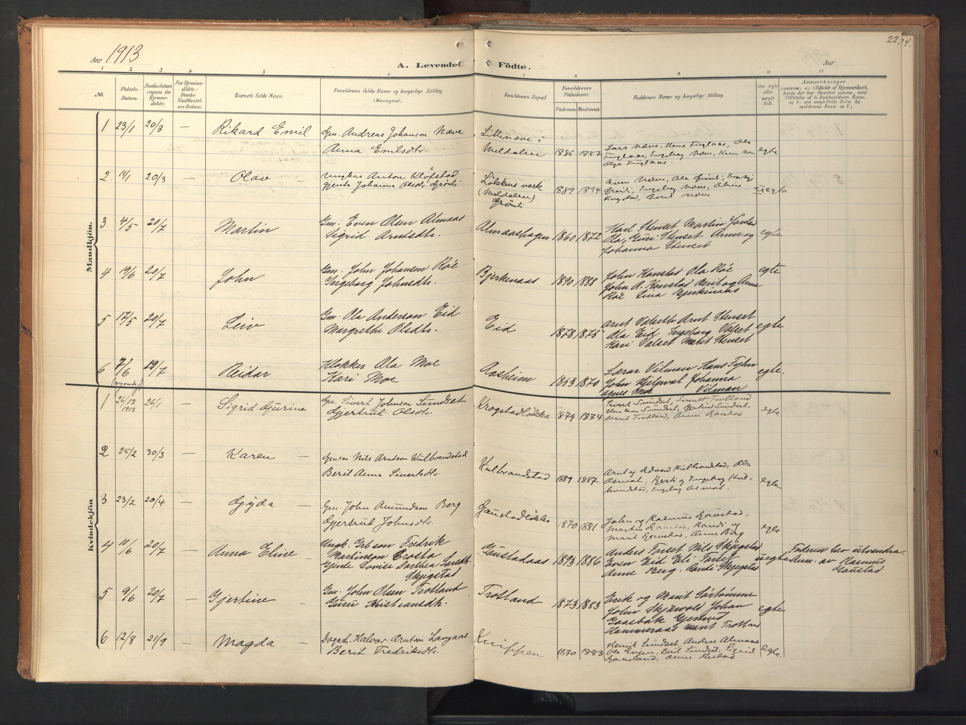 SAT, Ministerialprotokoller, klokkerbøker og fødselsregistre - Sør-Trøndelag, 694/L1128: Ministerialbok nr. 694A02, 1906-1931, s. 22