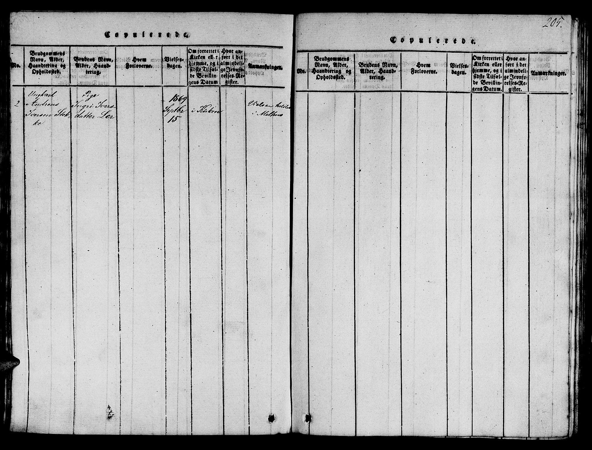 SAT, Ministerialprotokoller, klokkerbøker og fødselsregistre - Sør-Trøndelag, 693/L1121: Klokkerbok nr. 693C02, 1816-1869, s. 205