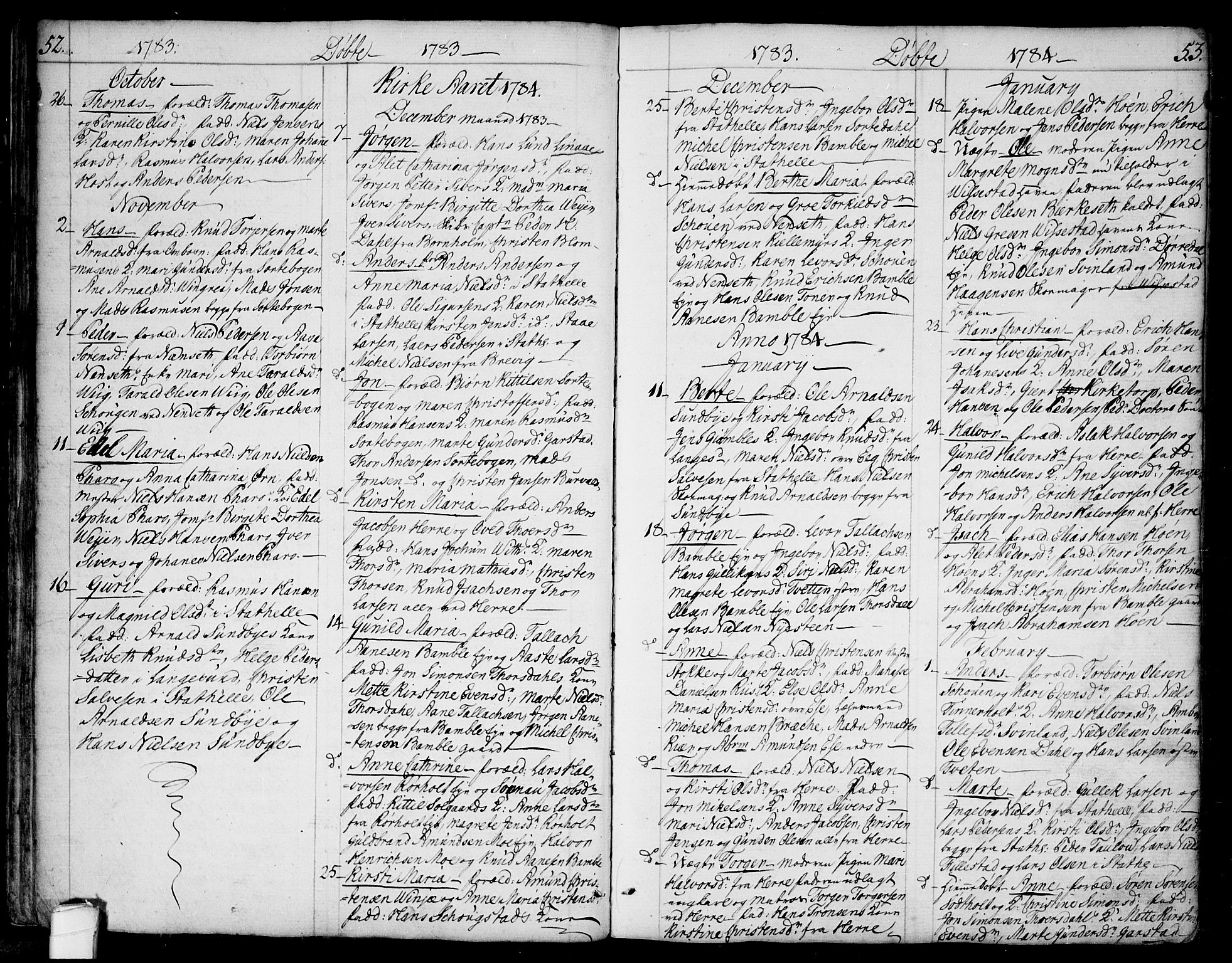 SAKO, Bamble kirkebøker, F/Fa/L0002: Ministerialbok nr. I 2, 1775-1814, s. 52-53