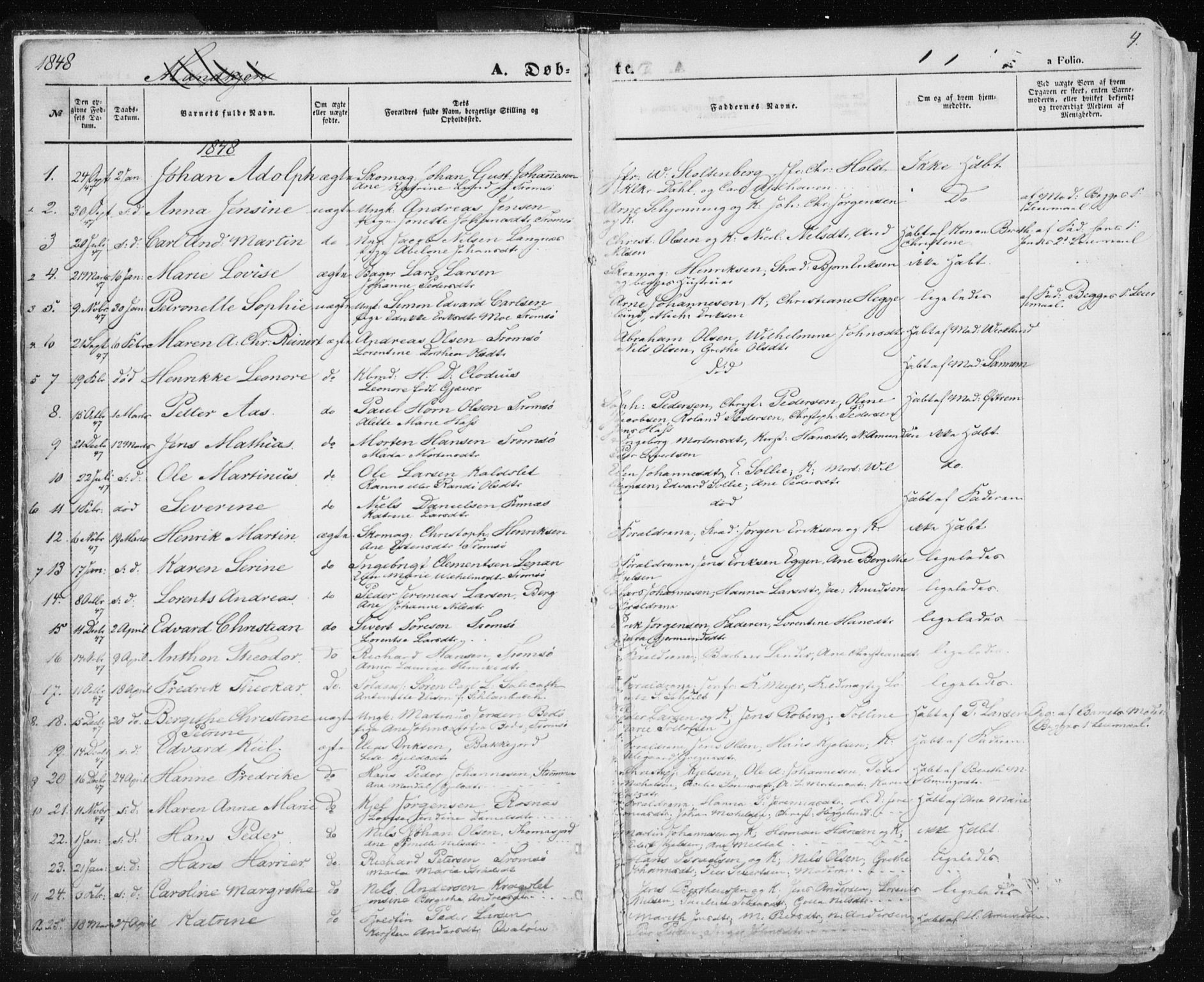 SATØ, Tromsø sokneprestkontor/stiftsprosti/domprosti, G/Ga/L0010kirke: Ministerialbok nr. 10, 1848-1855, s. 4