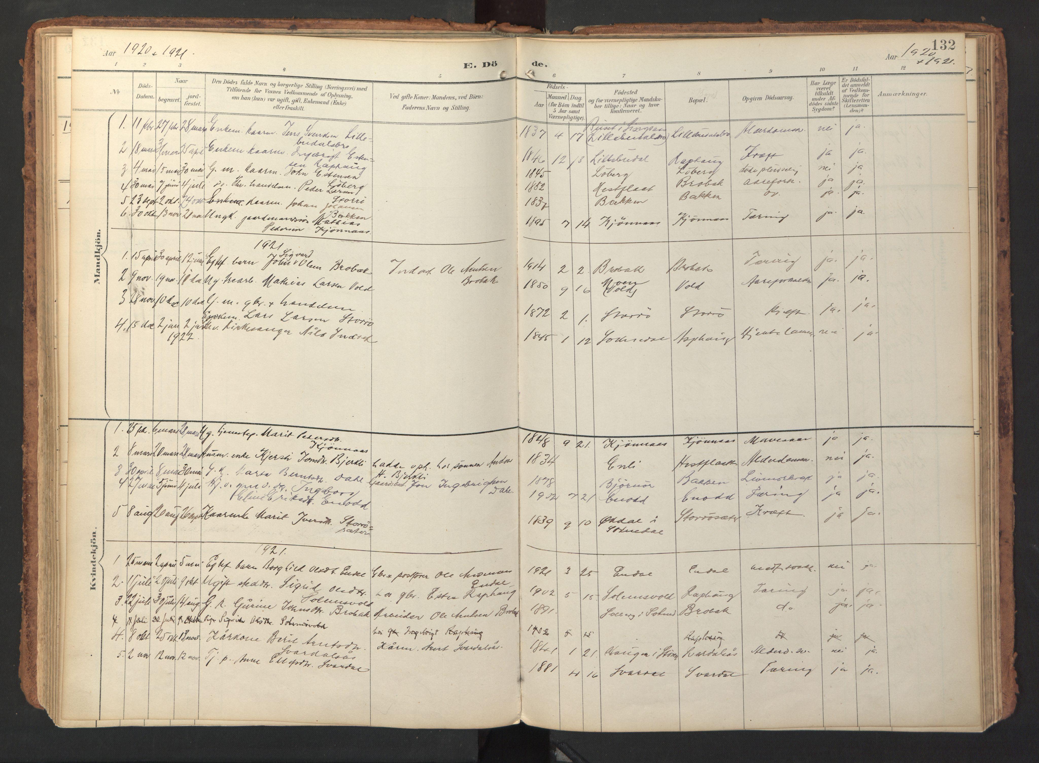 SAT, Ministerialprotokoller, klokkerbøker og fødselsregistre - Sør-Trøndelag, 690/L1050: Ministerialbok nr. 690A01, 1889-1929, s. 132