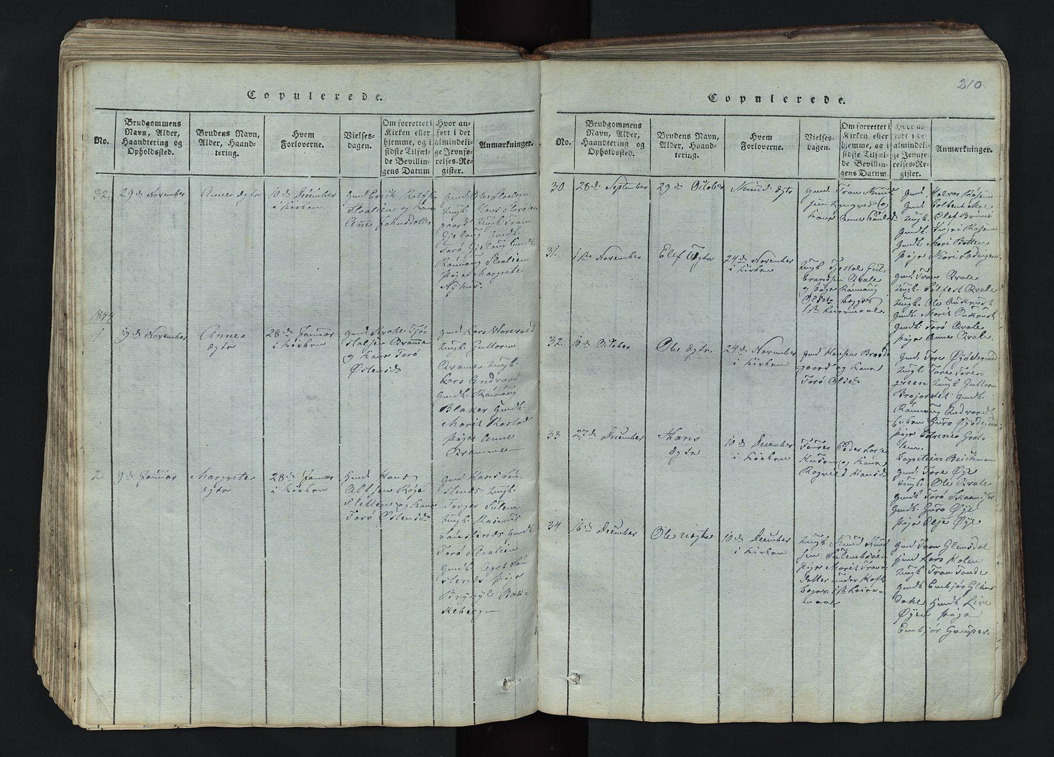 SAH, Lom prestekontor, L/L0002: Klokkerbok nr. 2, 1815-1844, s. 210