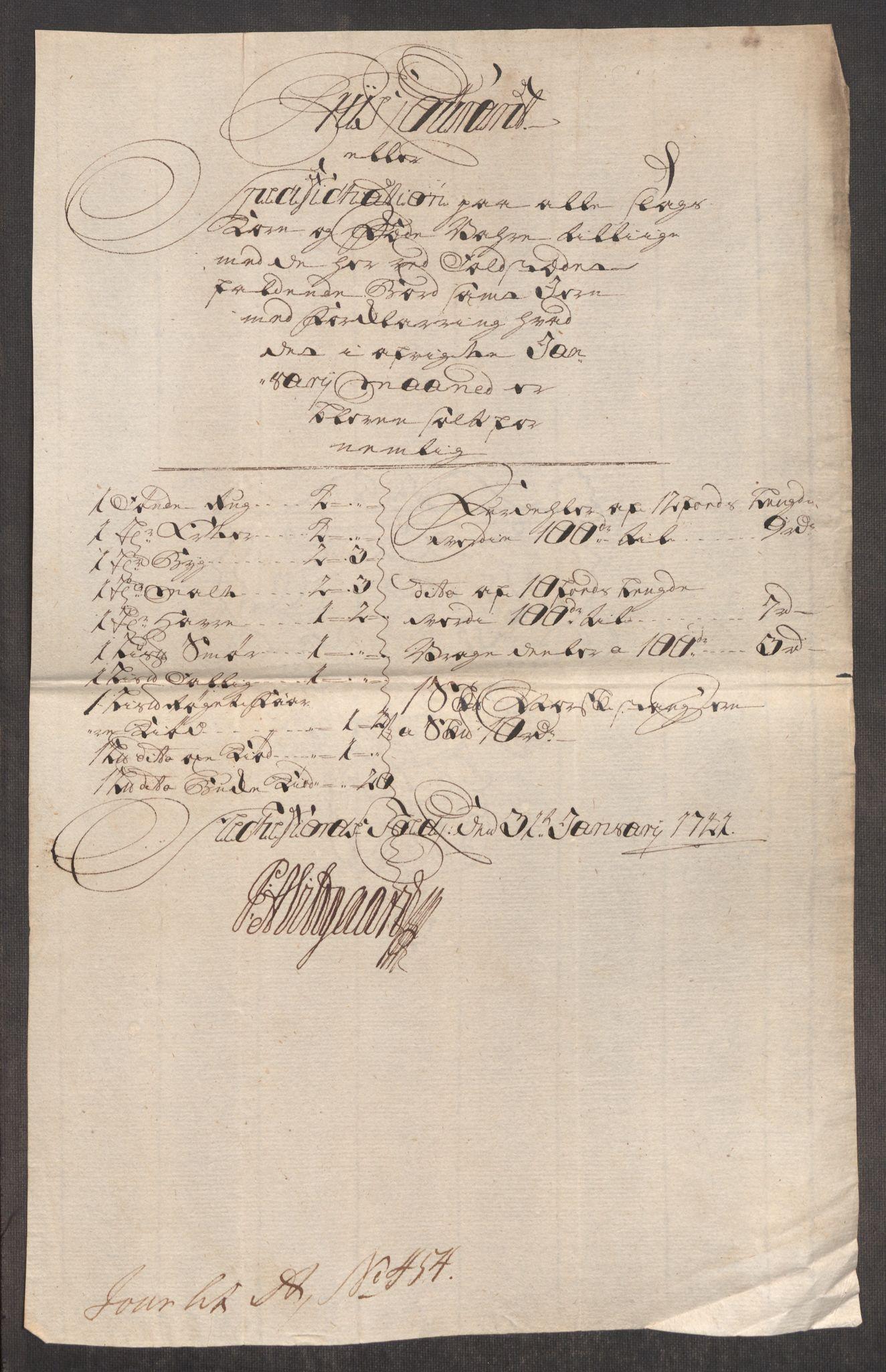 RA, Rentekammeret inntil 1814, Realistisk ordnet avdeling, Oe/L0002: [Ø1]: Priskuranter, 1740-1744, s. 381