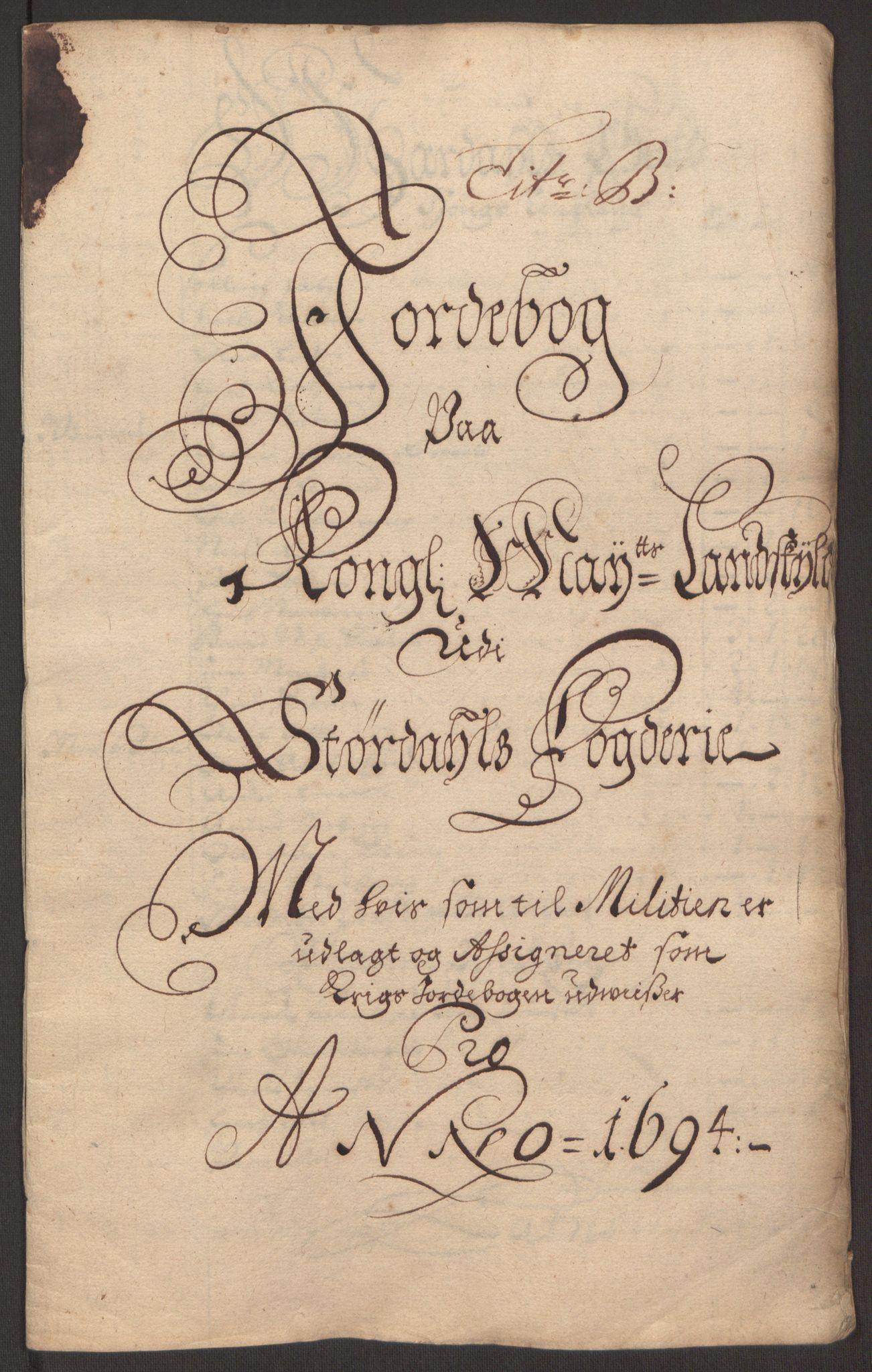 RA, Rentekammeret inntil 1814, Reviderte regnskaper, Fogderegnskap, R62/L4186: Fogderegnskap Stjørdal og Verdal, 1693-1694, s. 187