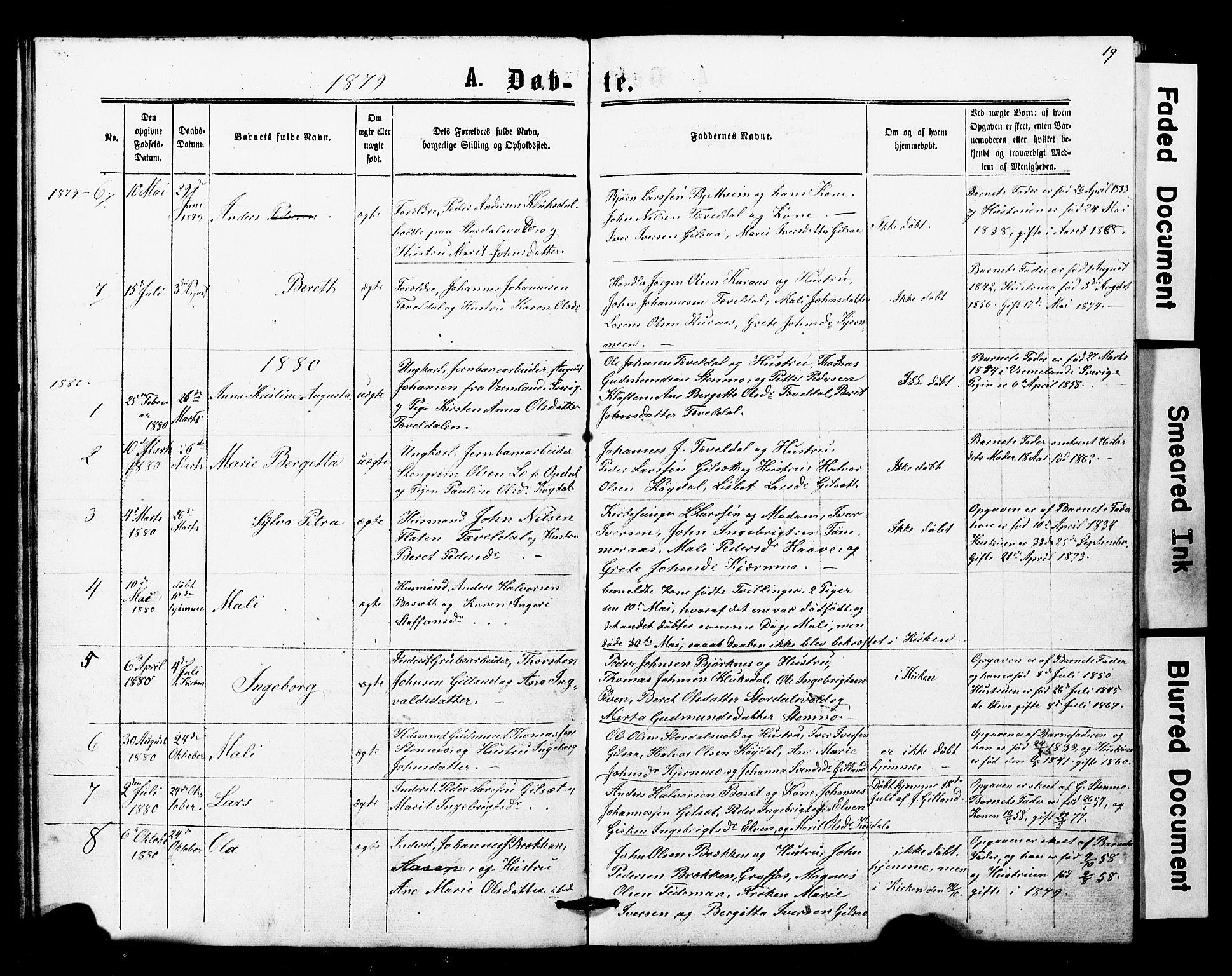 SAT, Ministerialprotokoller, klokkerbøker og fødselsregistre - Nord-Trøndelag, 707/L0052: Klokkerbok nr. 707C01, 1864-1897, s. 19