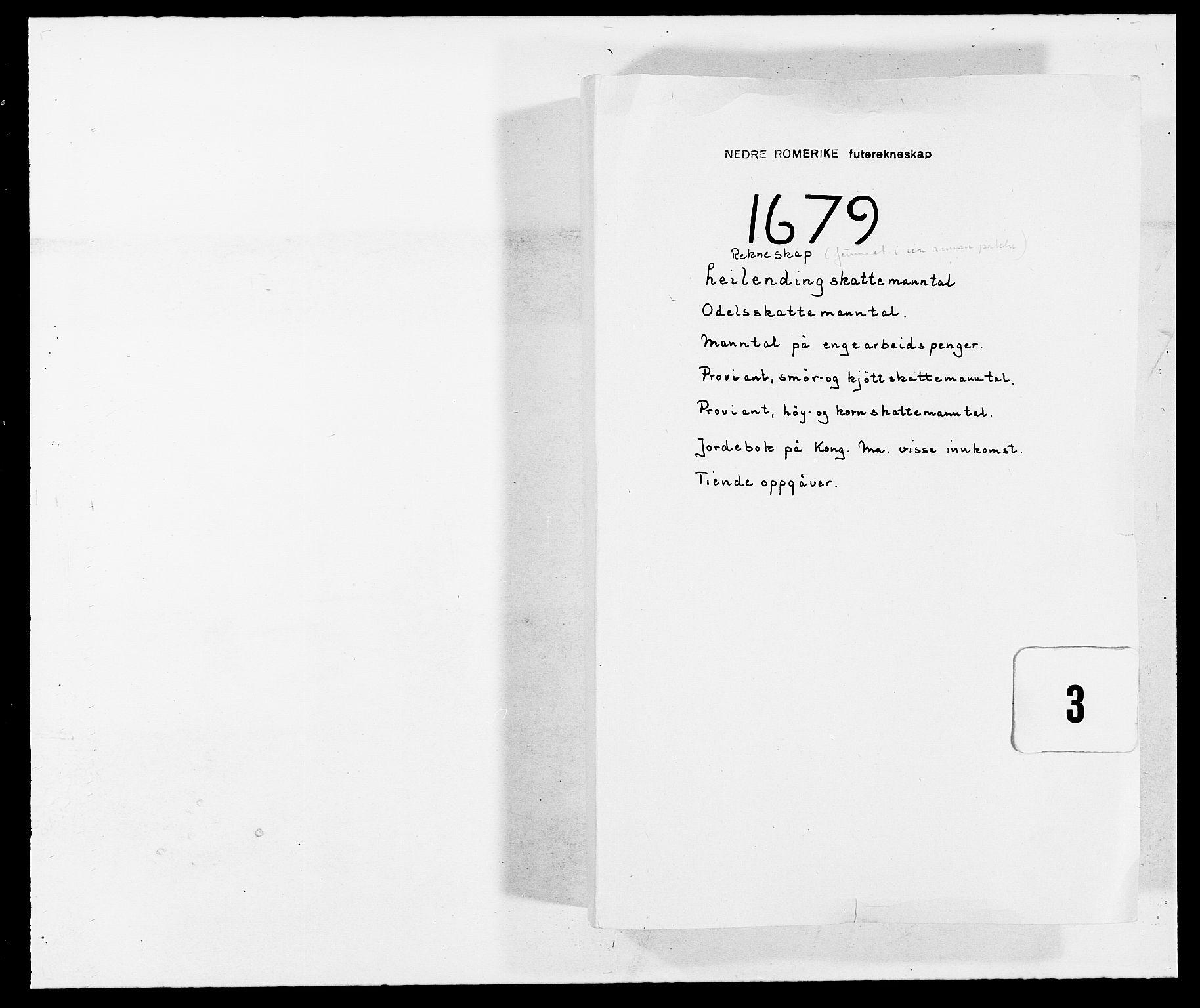 RA, Rentekammeret inntil 1814, Reviderte regnskaper, Fogderegnskap, R11/L0568: Fogderegnskap Nedre Romerike, 1679, s. 1