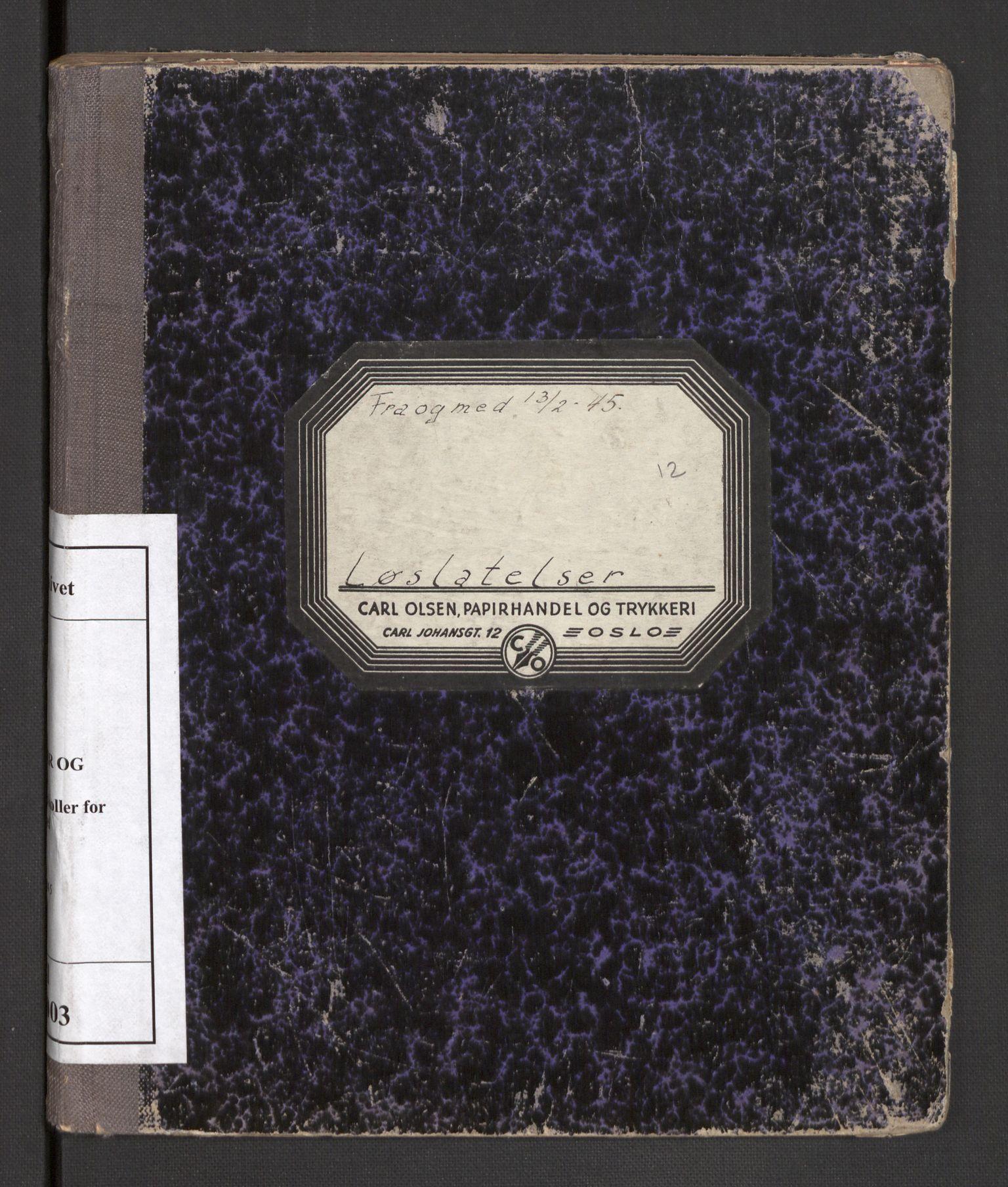RA, Statspolitiet - Hovedkontoret / Osloavdelingen, C/Cl/L0003: Løslatelser, 1945