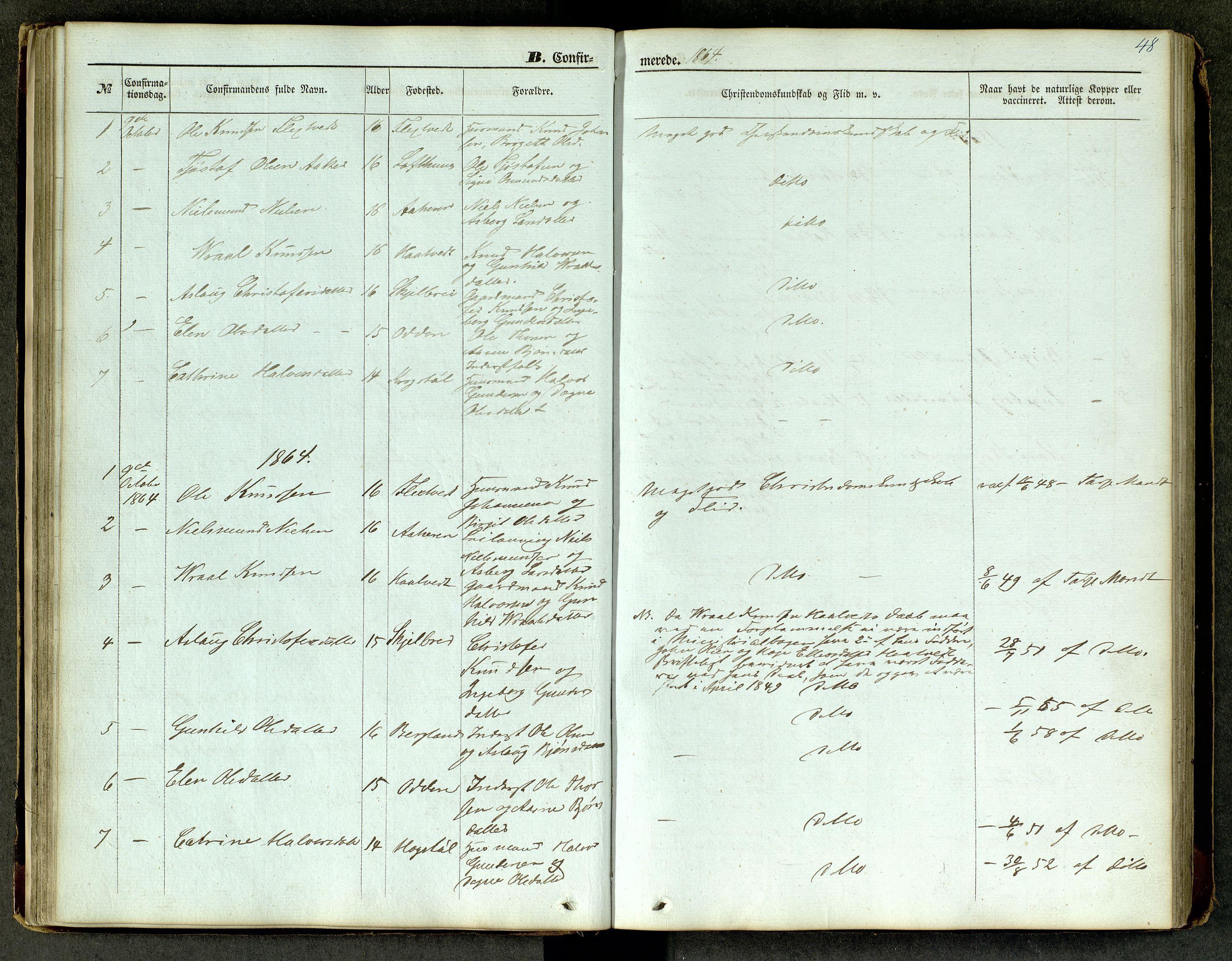 SAKO, Lårdal kirkebøker, G/Ga/L0002: Klokkerbok nr. I 2, 1861-1890, s. 48