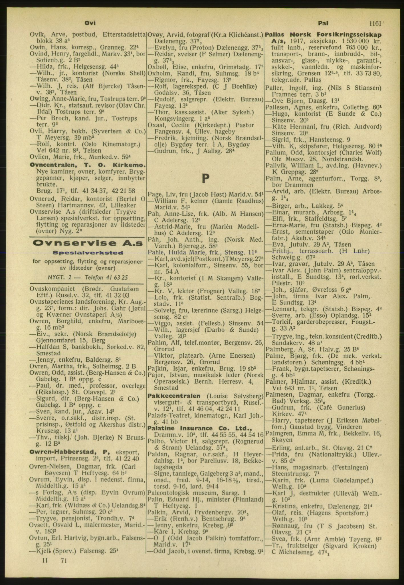 PUBL, Kristiania/Oslo adressebok, 1952, s. 1161