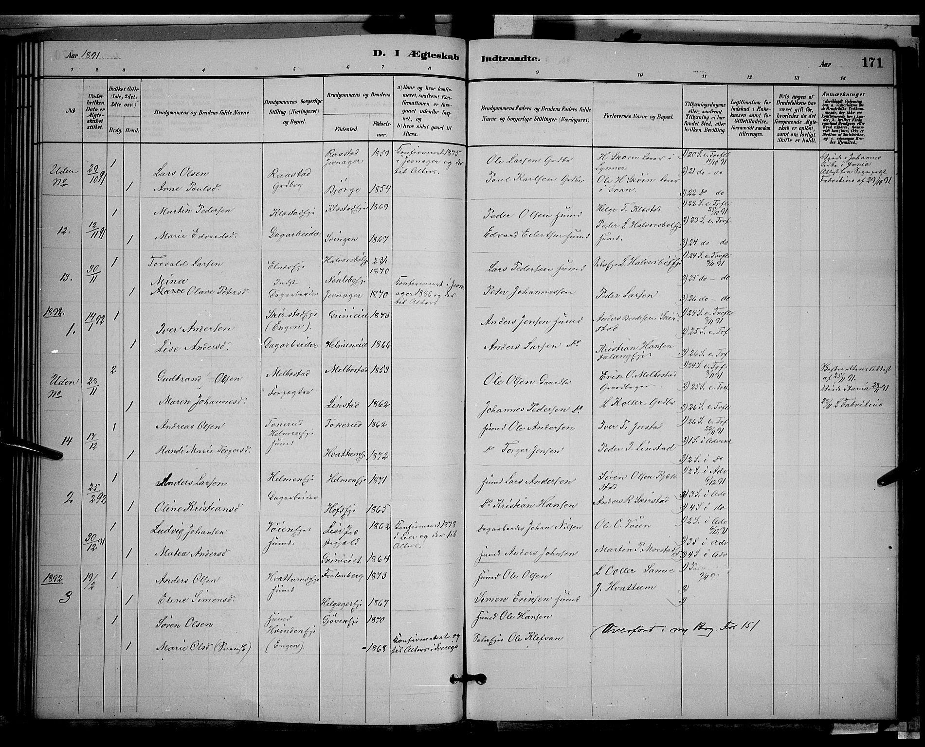 SAH, Gran prestekontor, Klokkerbok nr. 2, 1879-1892, s. 171