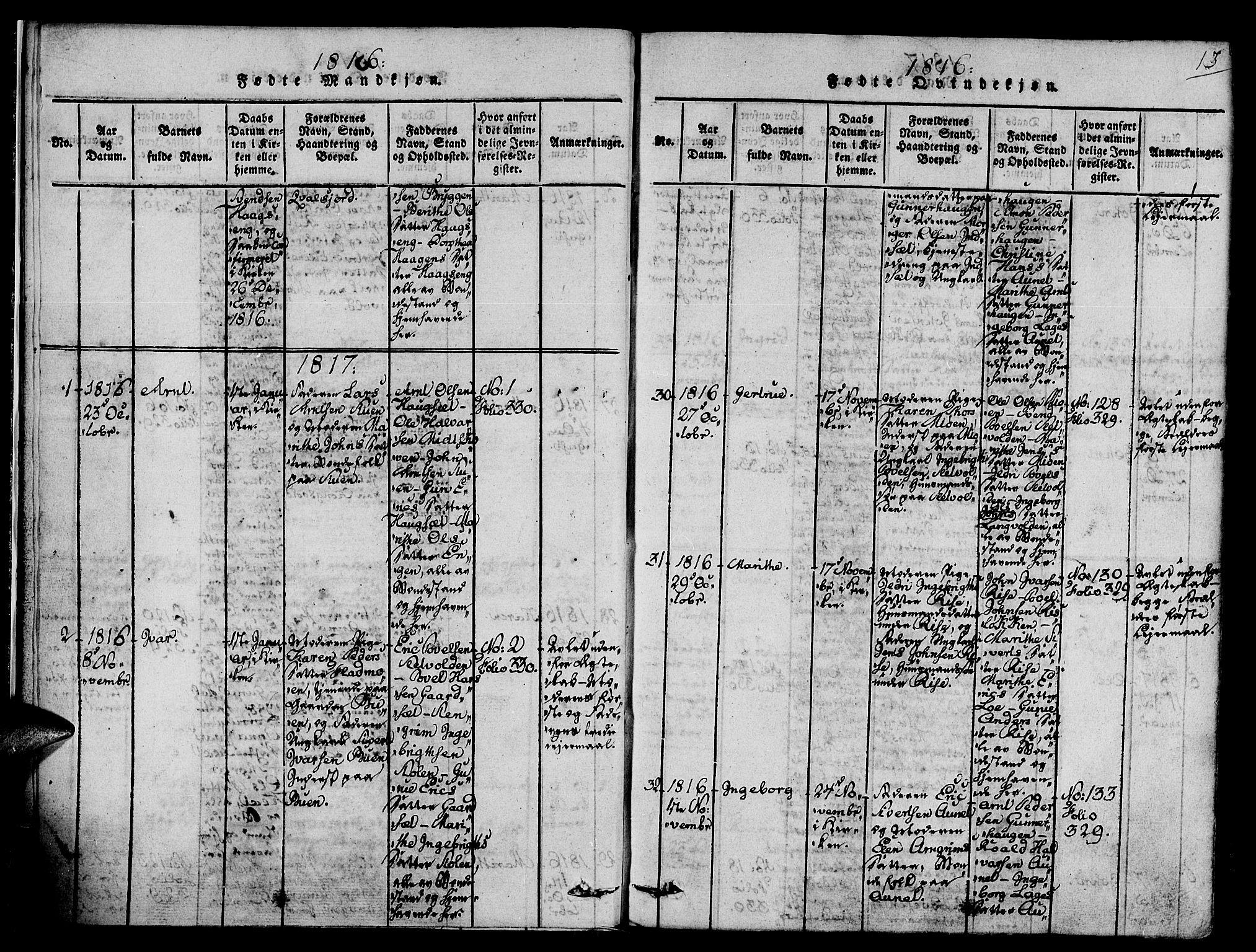 SAT, Ministerialprotokoller, klokkerbøker og fødselsregistre - Sør-Trøndelag, 678/L0895: Ministerialbok nr. 678A05 /1, 1816-1821, s. 13