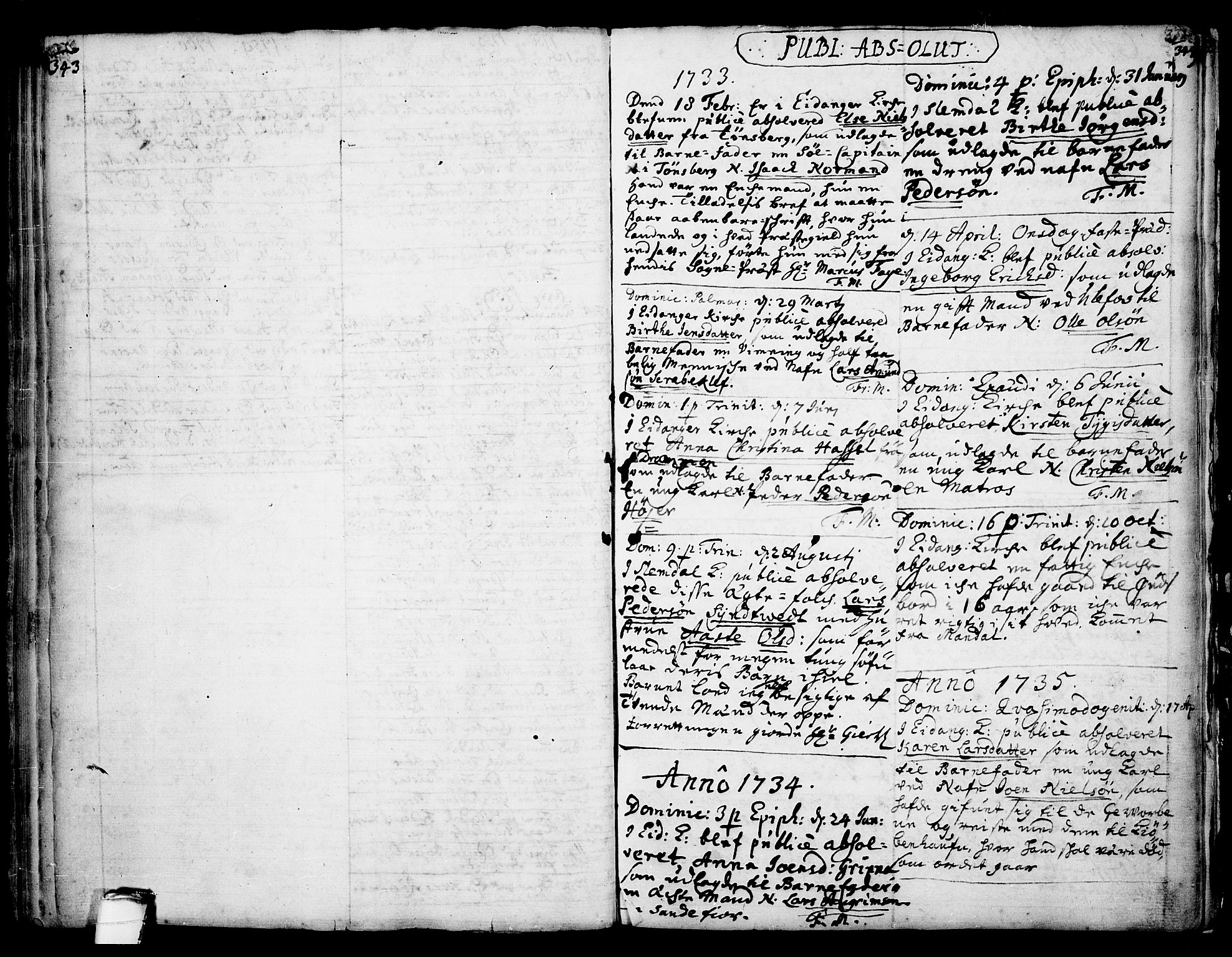 SAKO, Eidanger kirkebøker, F/Fa/L0004: Ministerialbok nr. 4, 1733-1759, s. 343-344