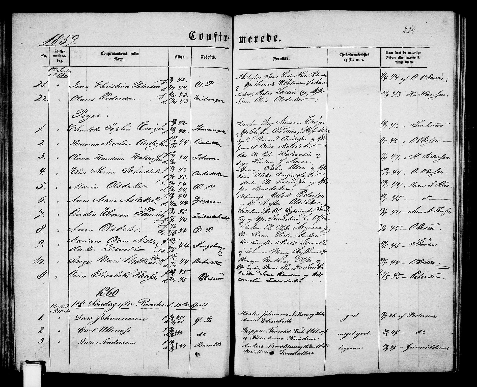 SAKO, Porsgrunn kirkebøker , G/Gb/L0004: Klokkerbok nr. II 4, 1853-1882, s. 254