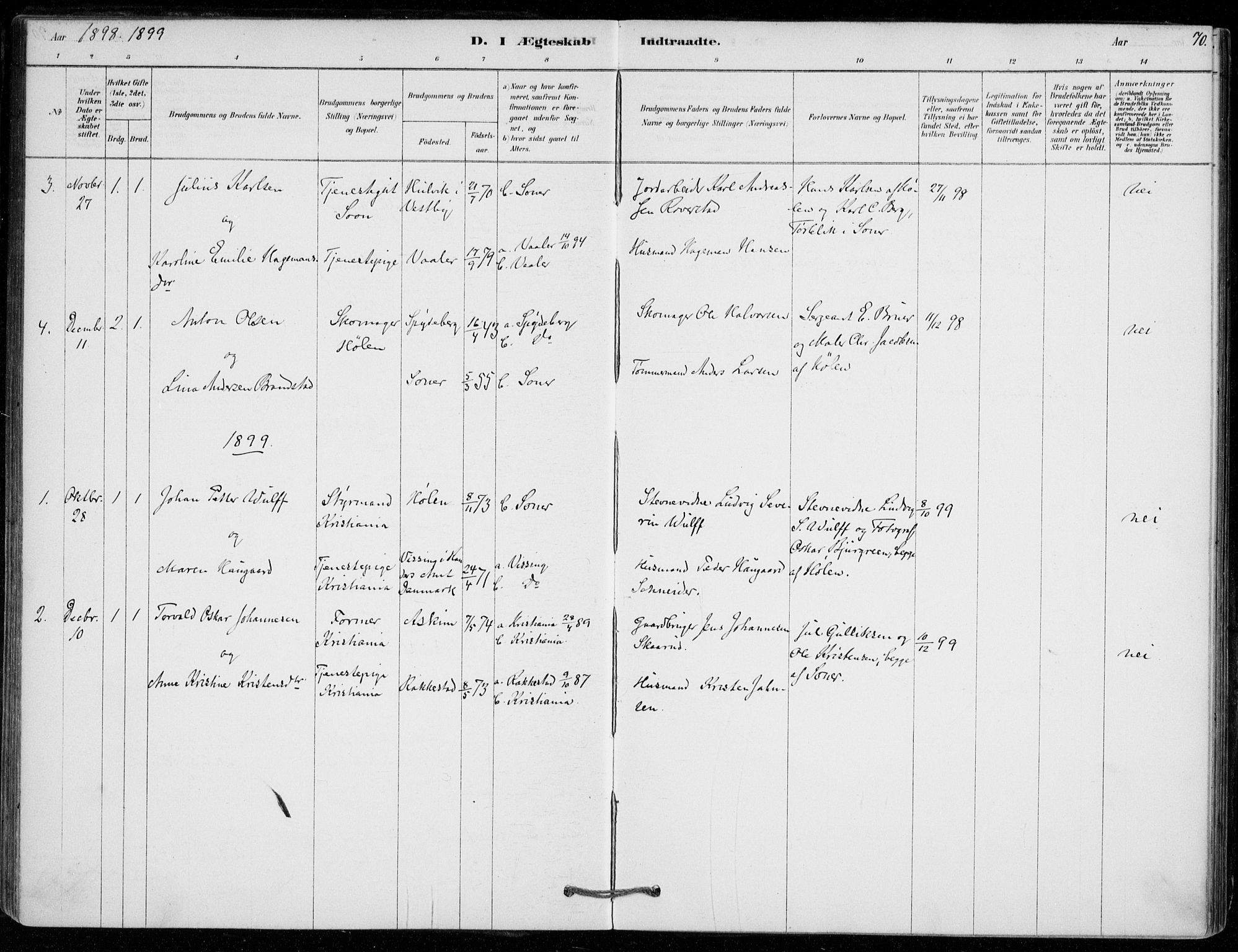 SAO, Vestby prestekontor Kirkebøker, F/Fe/L0001: Ministerialbok nr. V 1, 1878-1931, s. 70