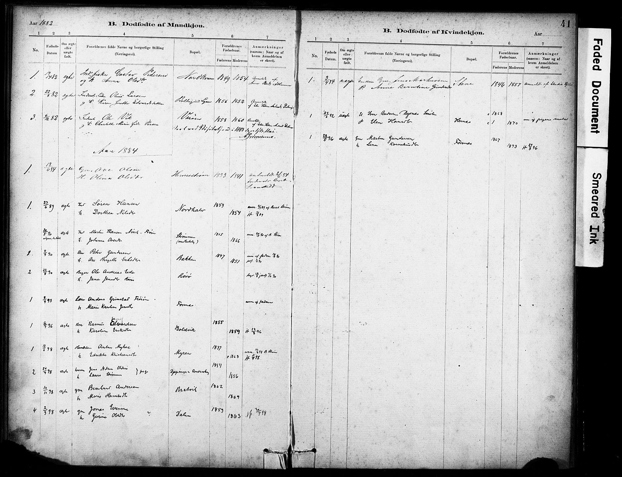 SAT, Ministerialprotokoller, klokkerbøker og fødselsregistre - Sør-Trøndelag, 635/L0551: Ministerialbok nr. 635A01, 1882-1899, s. 41