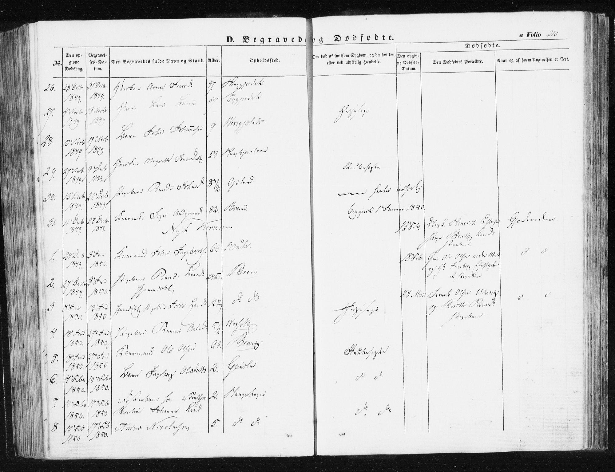SAT, Ministerialprotokoller, klokkerbøker og fødselsregistre - Sør-Trøndelag, 612/L0376: Ministerialbok nr. 612A08, 1846-1859, s. 210