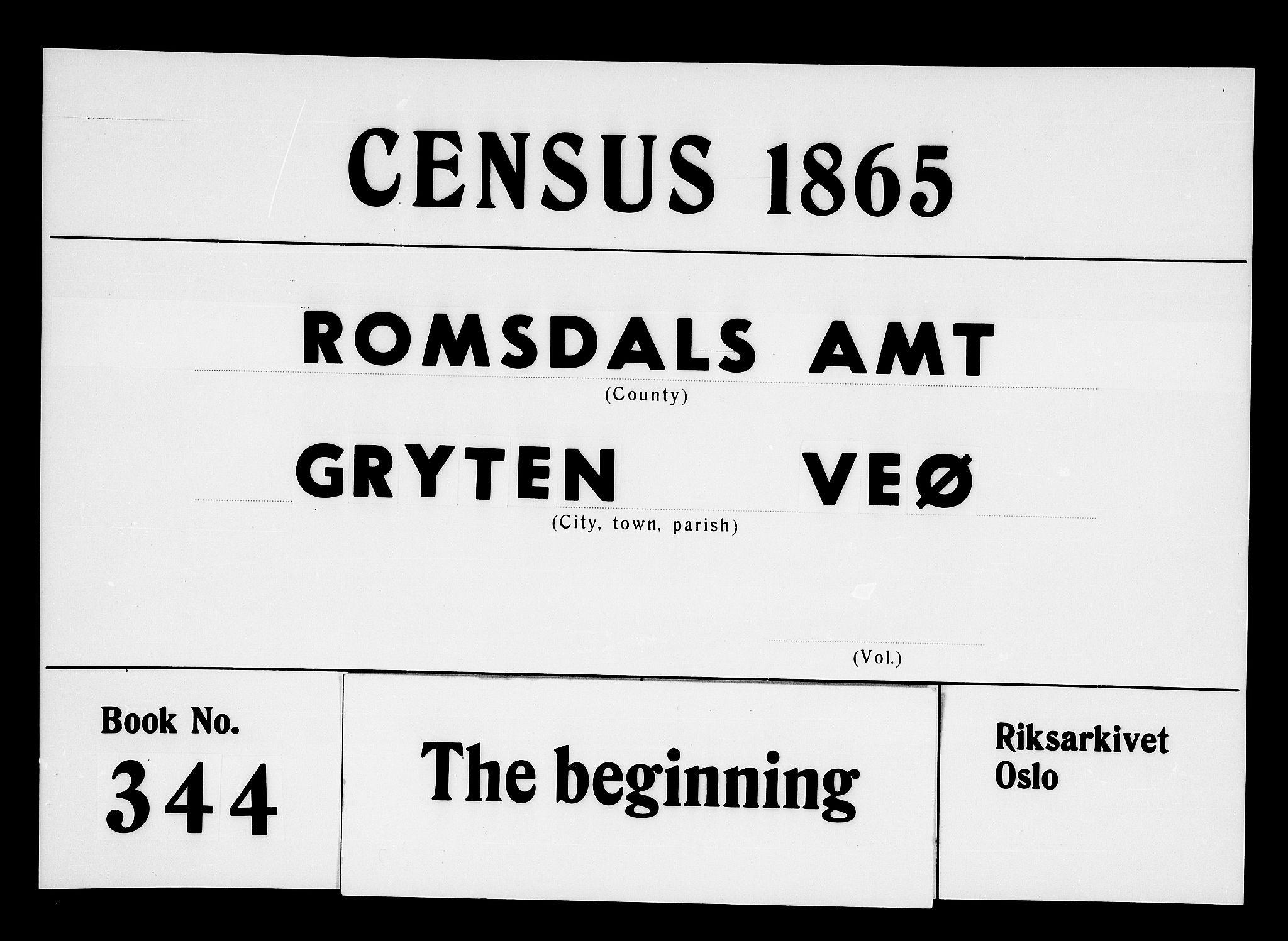 RA, Folketelling 1865 for 1539P Grytten prestegjeld, 1865, s. 1
