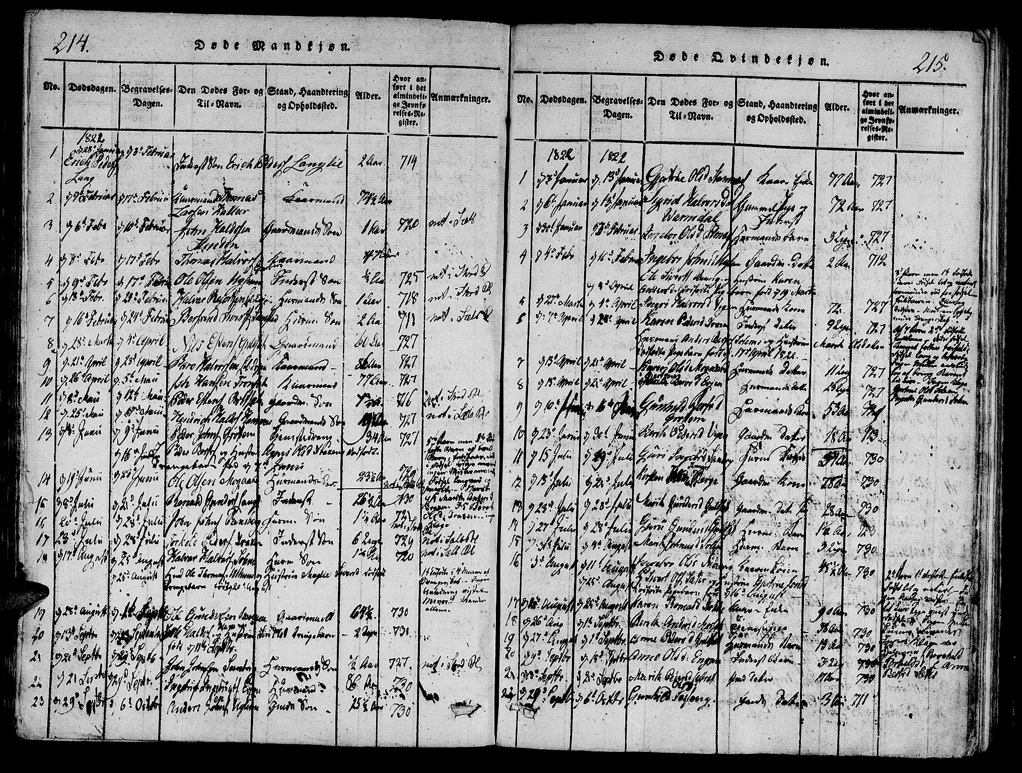 SAT, Ministerialprotokoller, klokkerbøker og fødselsregistre - Sør-Trøndelag, 695/L1141: Ministerialbok nr. 695A04 /1, 1816-1824, s. 214-215