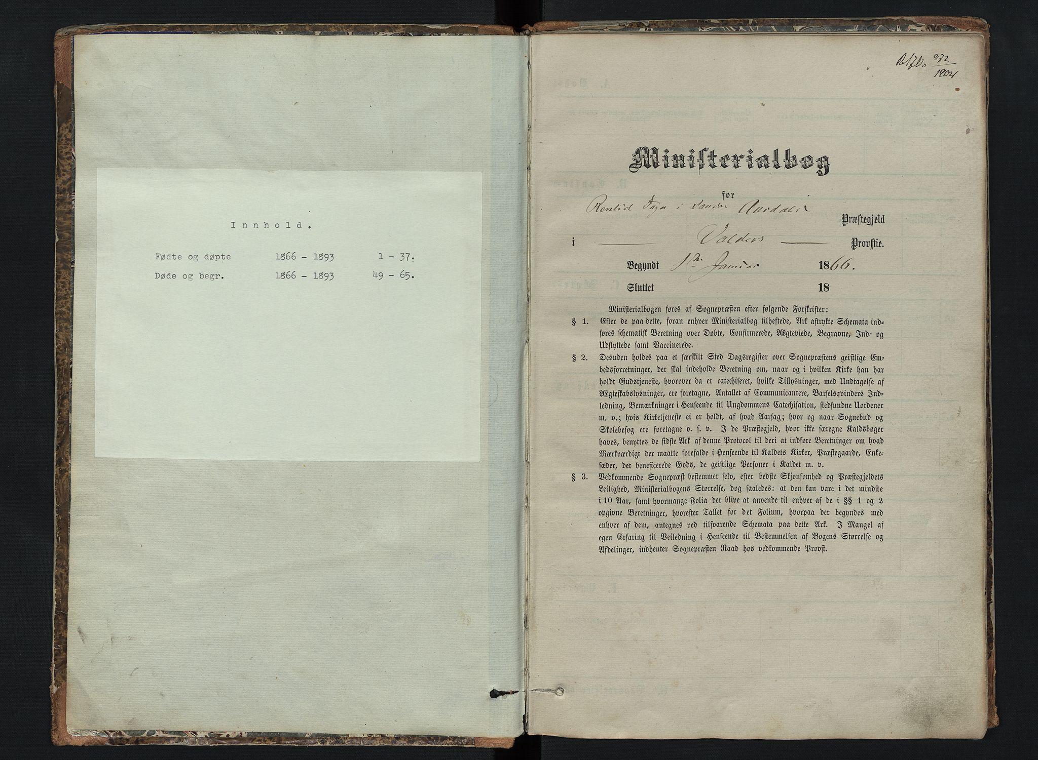 SAH, Sør-Aurdal prestekontor, Klokkerbok nr. 6, 1866-1893