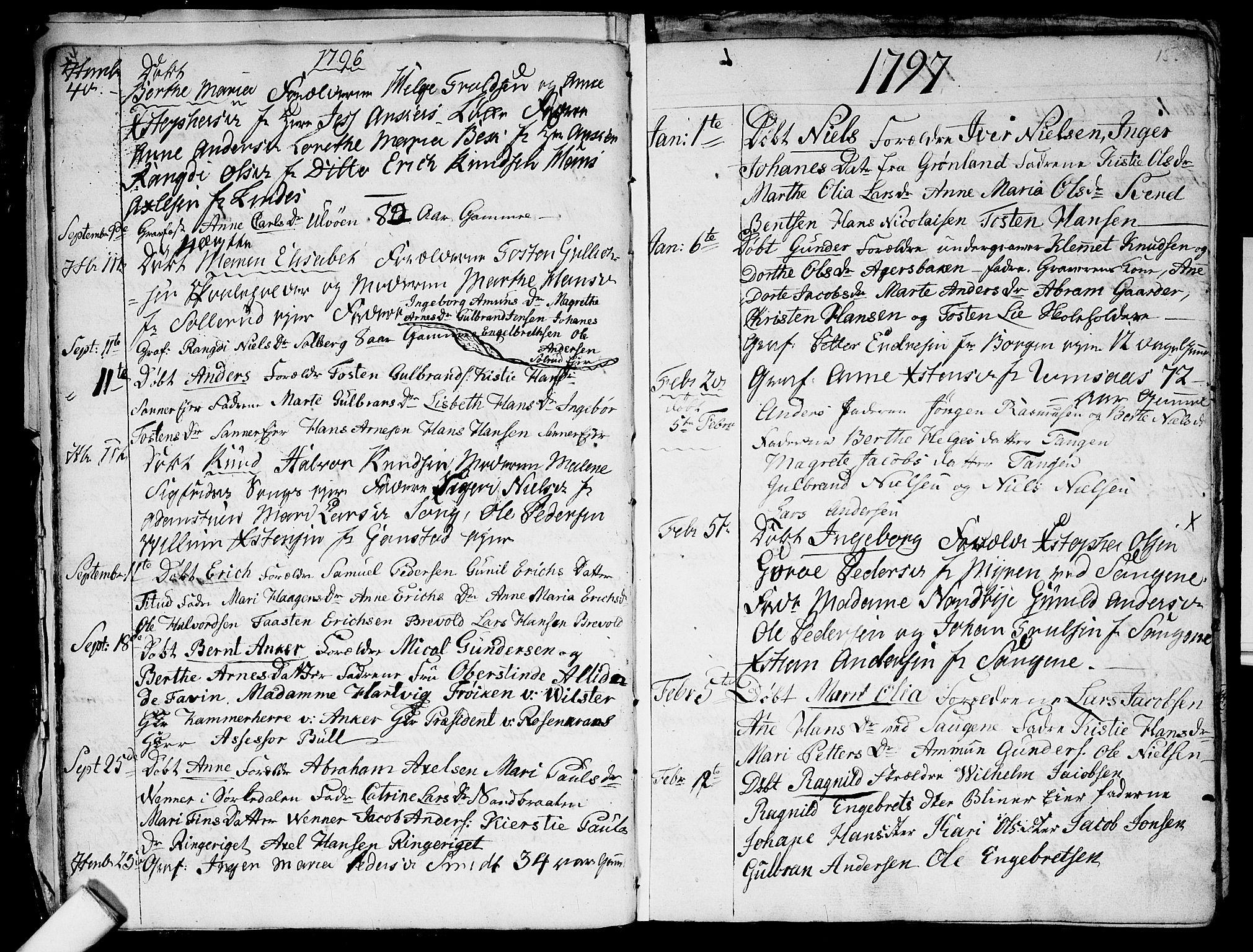 SAO, Aker prestekontor kirkebøker, G/L0001: Klokkerbok nr. 1, 1796-1826, s. 14-15