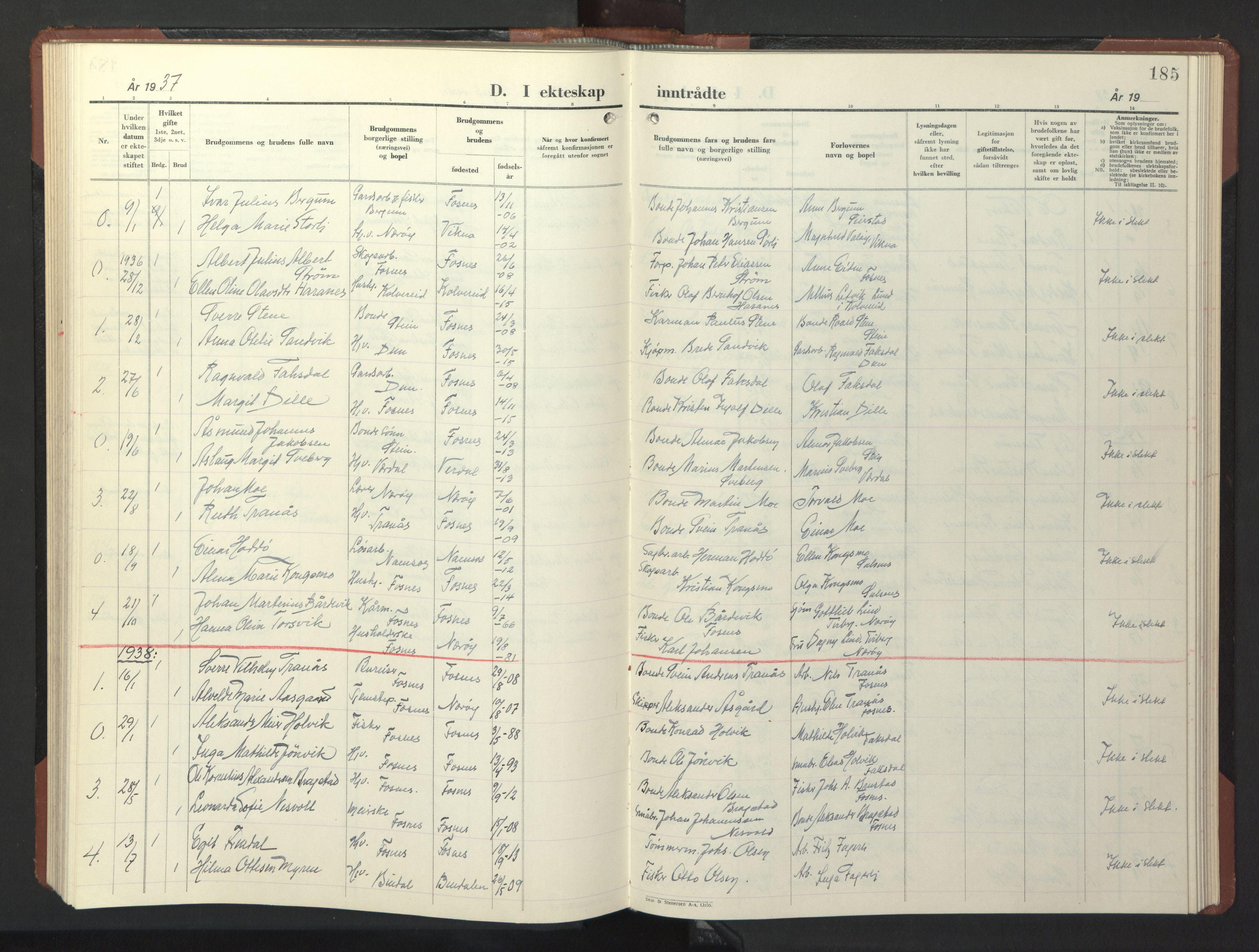 SAT, Ministerialprotokoller, klokkerbøker og fødselsregistre - Nord-Trøndelag, 773/L0625: Klokkerbok nr. 773C01, 1910-1952, s. 185
