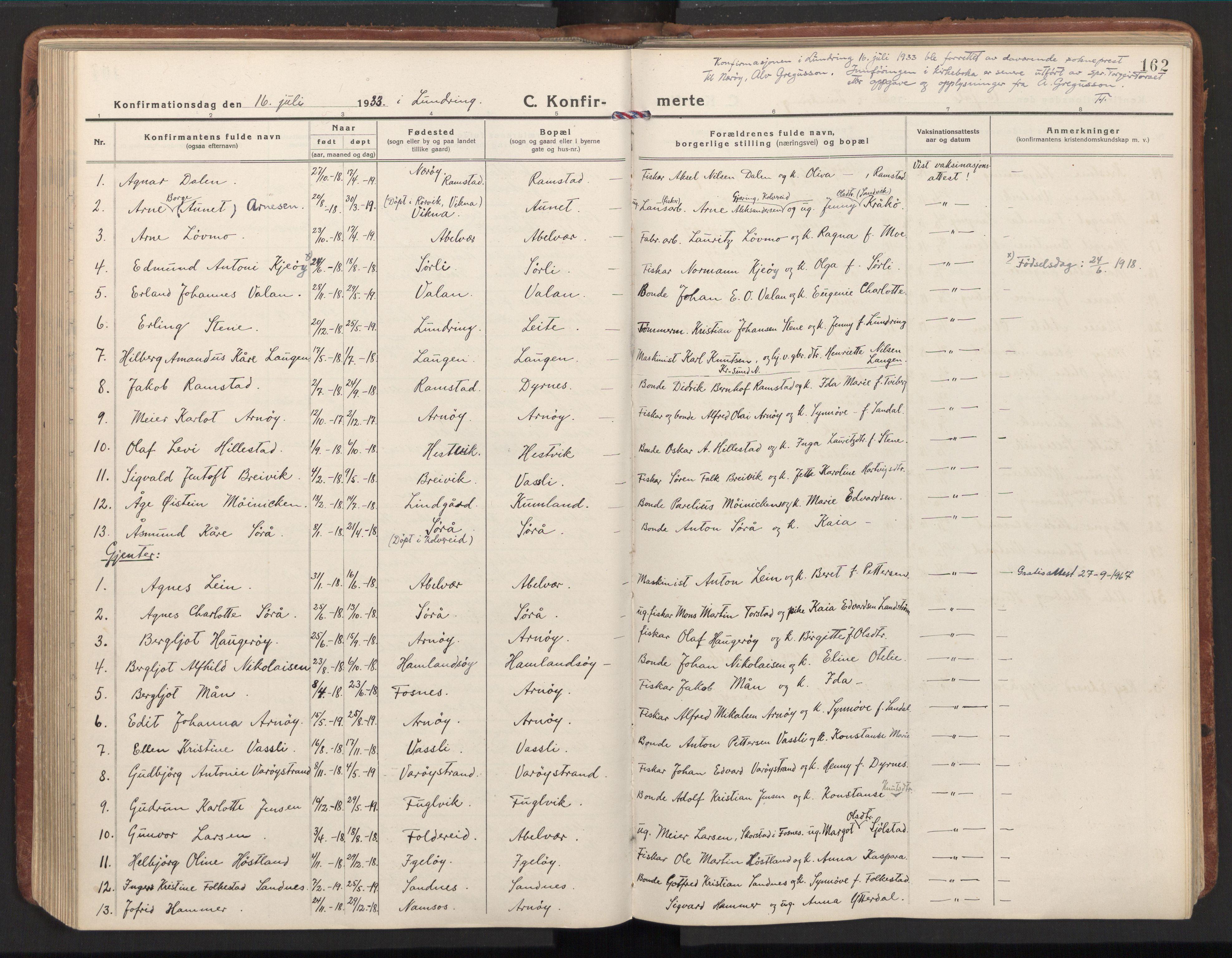 SAT, Ministerialprotokoller, klokkerbøker og fødselsregistre - Nord-Trøndelag, 784/L0678: Ministerialbok nr. 784A13, 1921-1938, s. 162