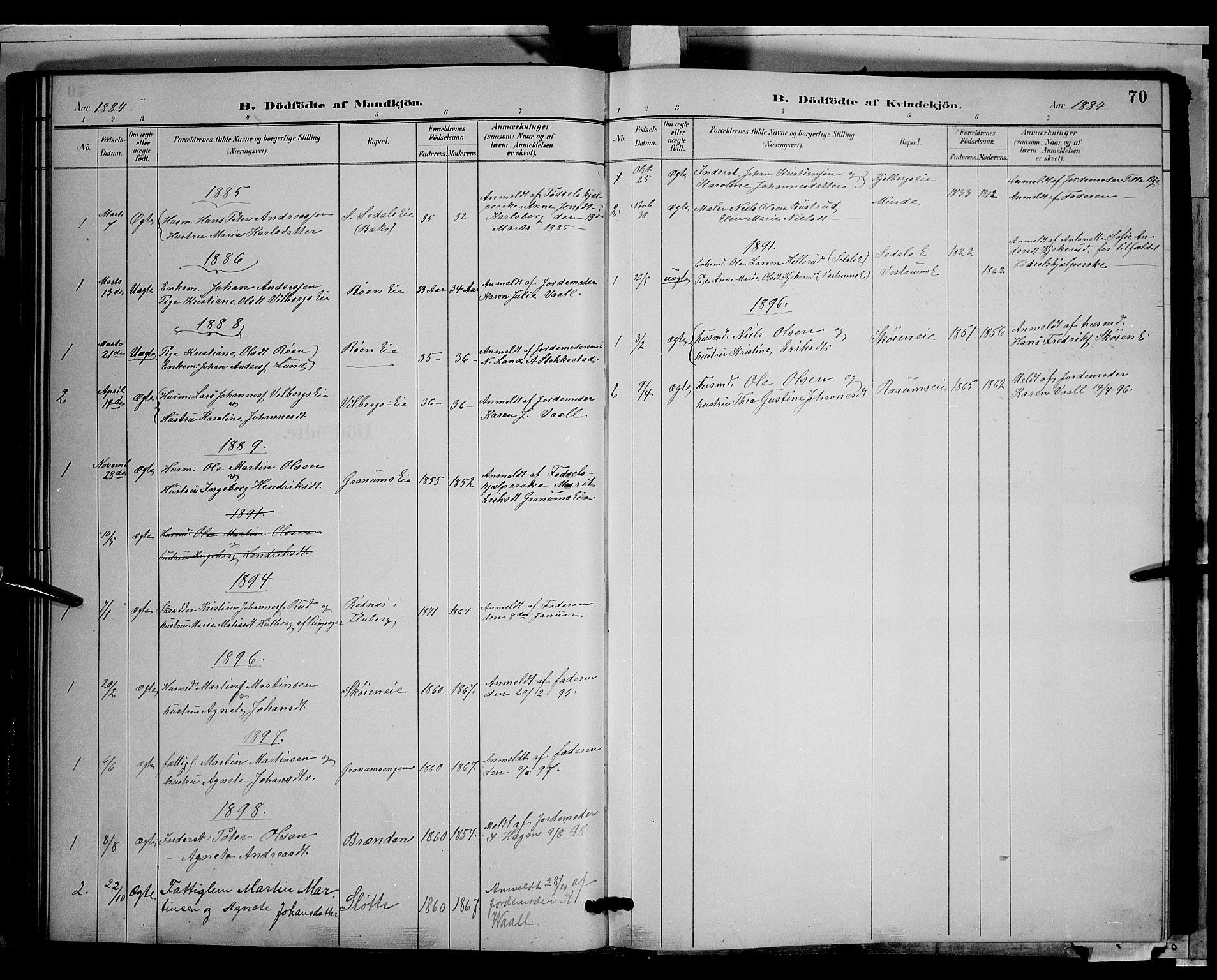 SAH, Søndre Land prestekontor, L/L0003: Klokkerbok nr. 3, 1884-1902, s. 70